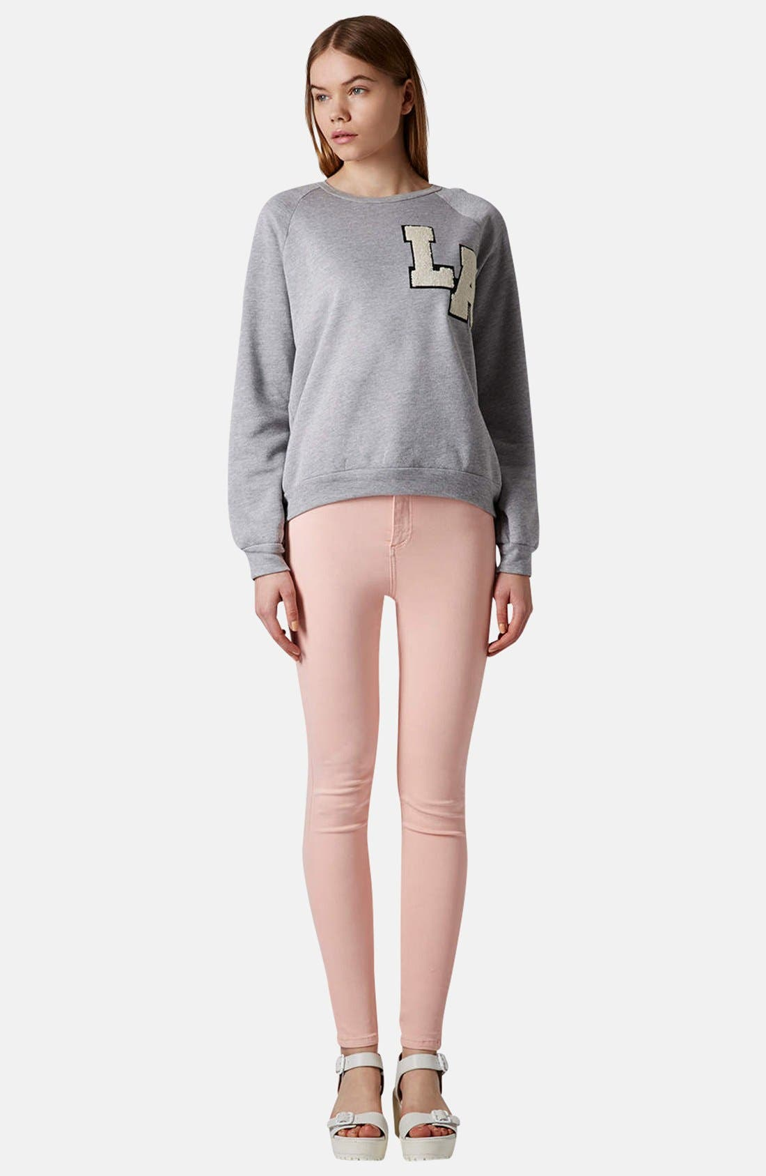 Alternate Image 4  - Topshop Moto 'Joni' High Waist Skinny Jeans (Light Pink)