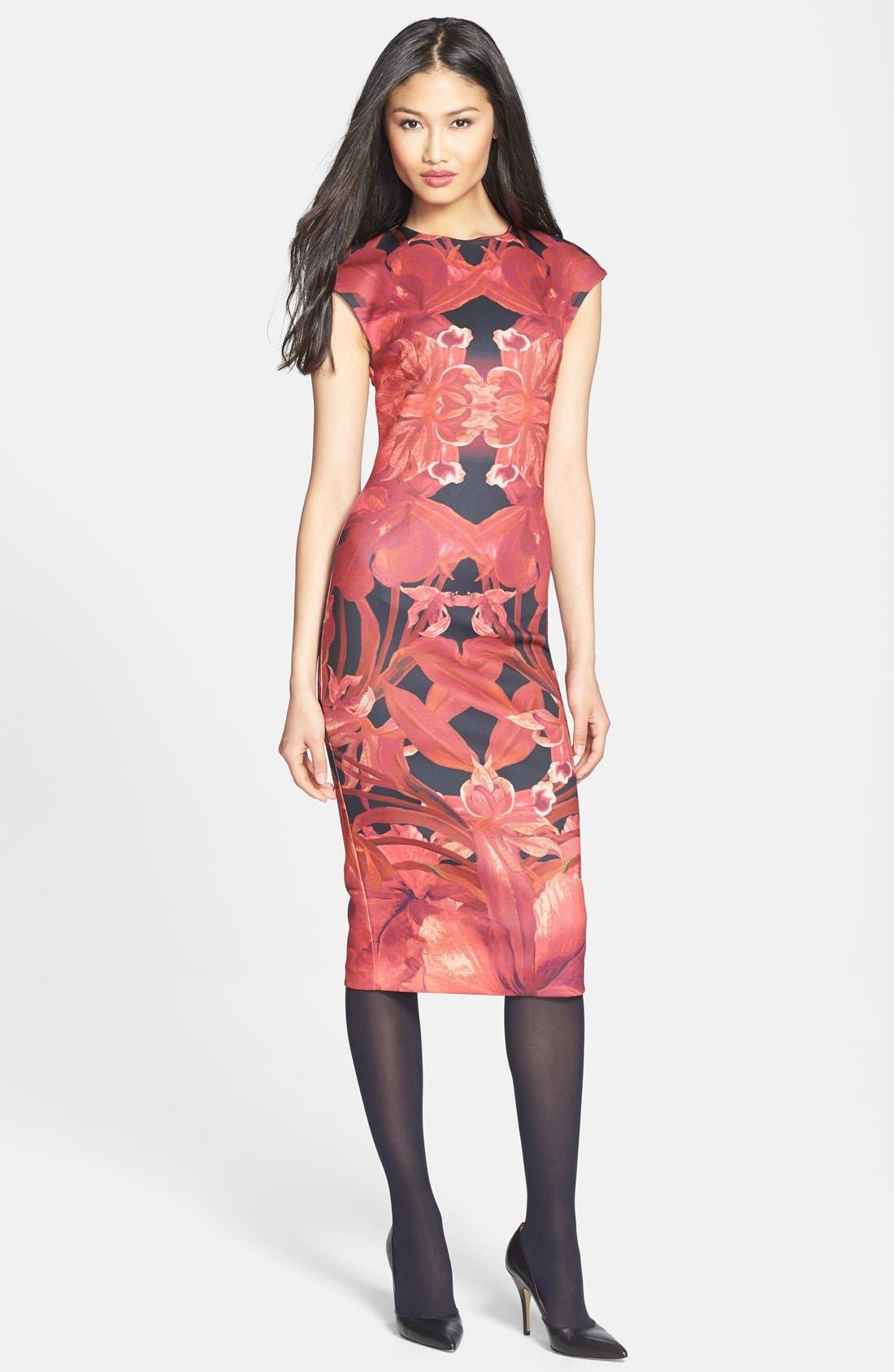 Alternate Image 4  - Ted Baker London 'Jungle Orchid' Print Neoprene Midi Dress