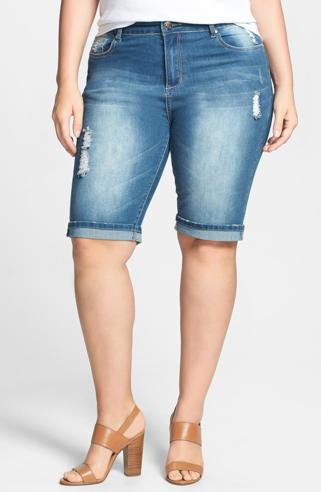 Alternate Image 1 Selected - City Chic Roll Cuff Distressed Denim Bermuda Shorts (Plus Size)