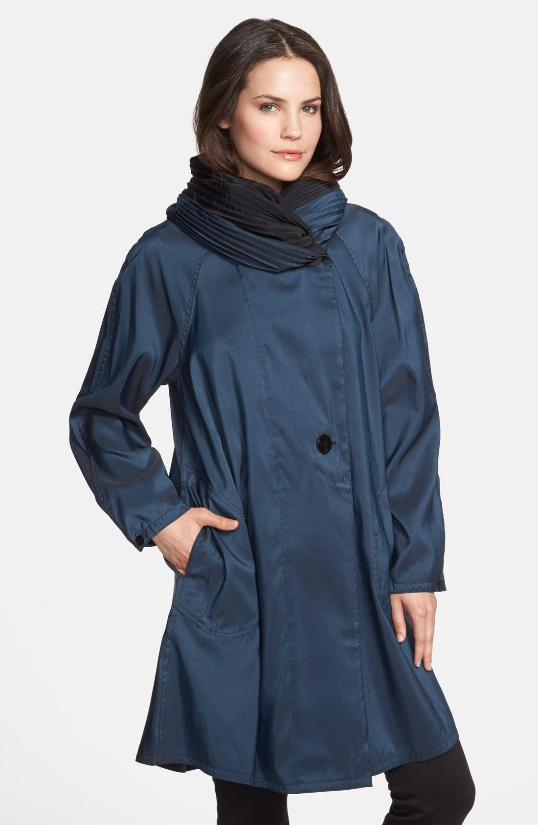 Mycra Pac Designer Wear Reversible Pleat Hood Packable Travel Coat