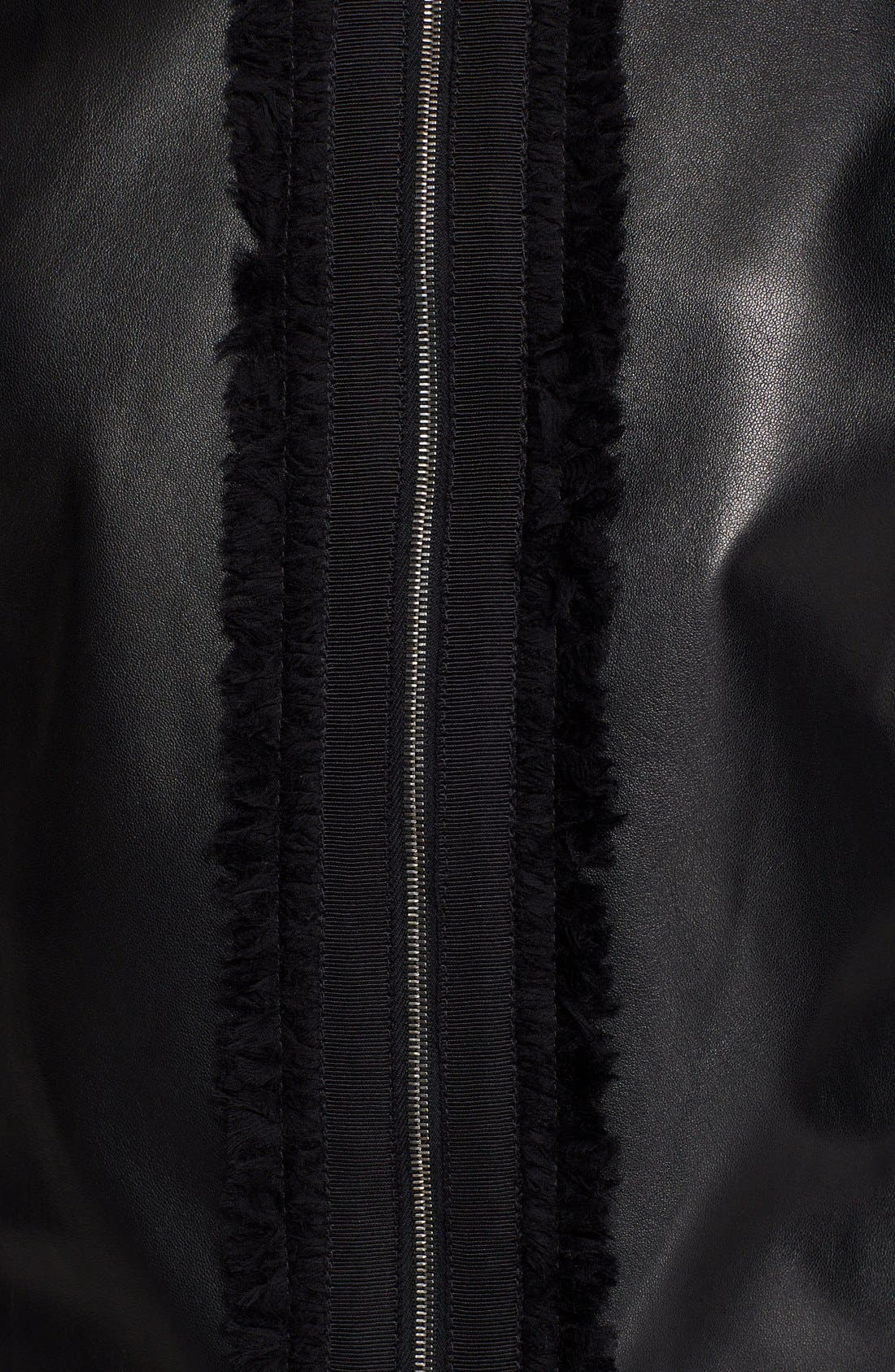 Alternate Image 3  - St. John Collection Leather & Milano Knit Jacket with Organza Trim