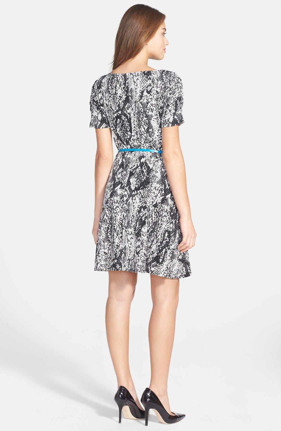 Alternate Image 2  - Donna Morgan Snakeskin Print Jersey Fit & Flare Dress