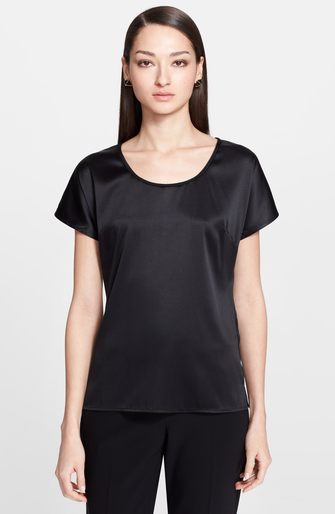 Alternate Image 1 Selected - St. John Collection Silk Charmeuse Cap Sleeve Blouse