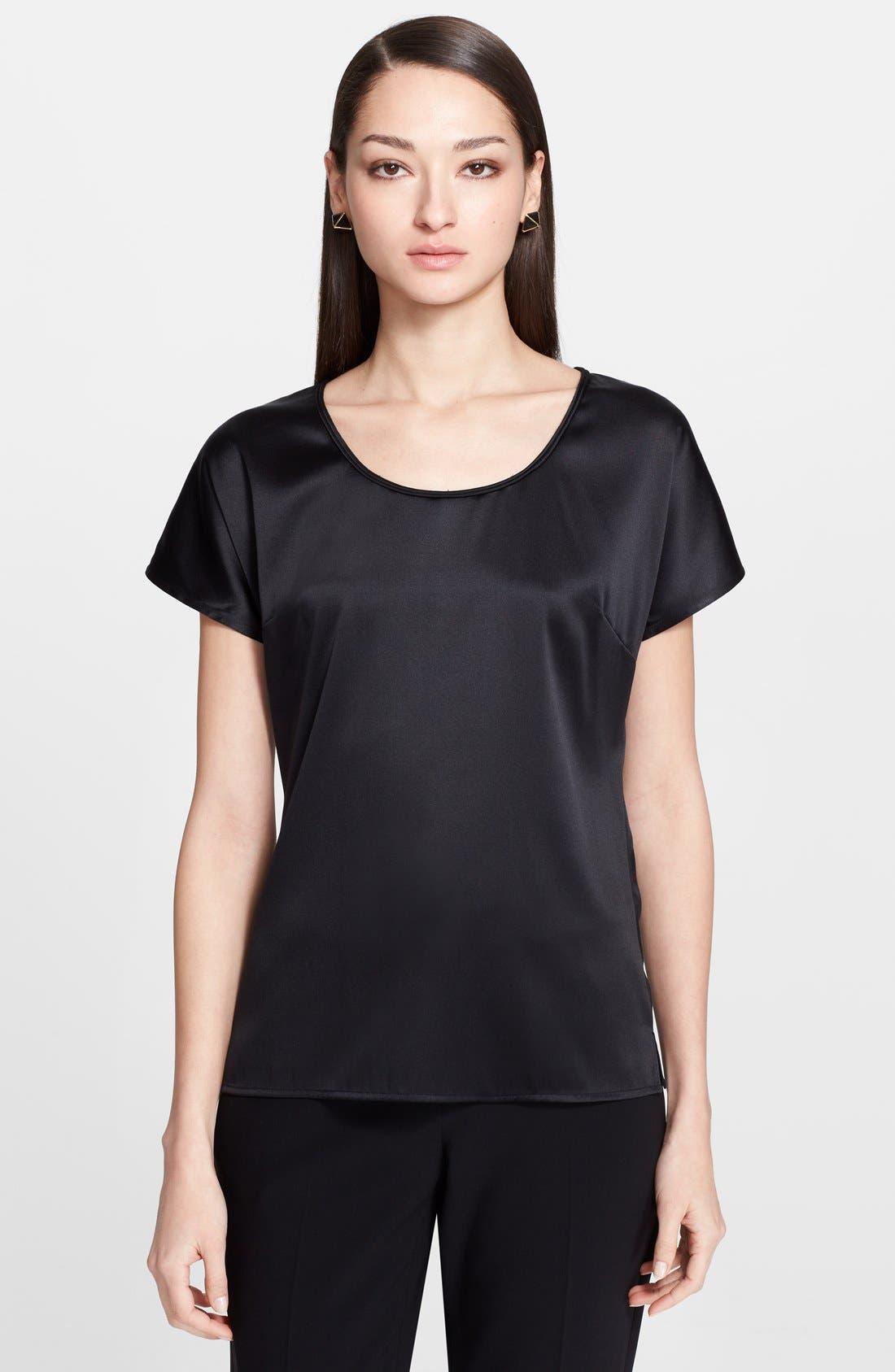 Main Image - St. John Collection Silk Charmeuse Cap Sleeve Blouse