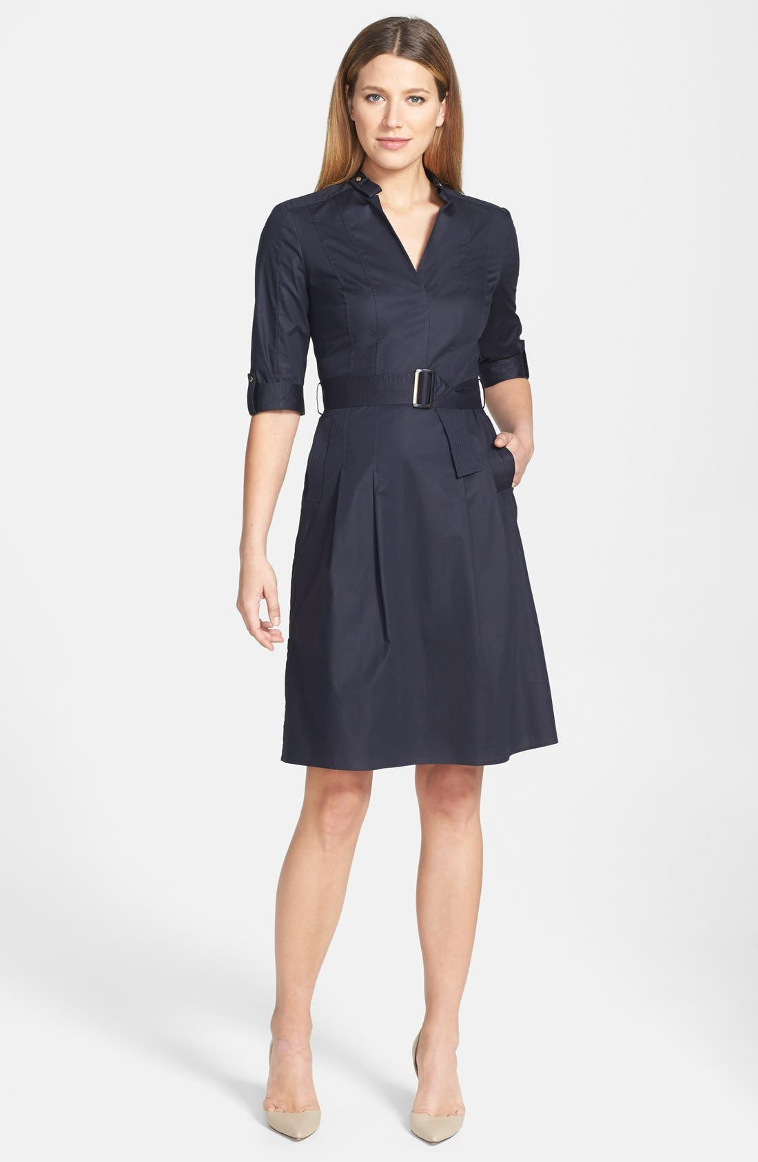 Main Image - BOSS 'Damalen' Belted Stretch Cotton Fit & Flare Dress