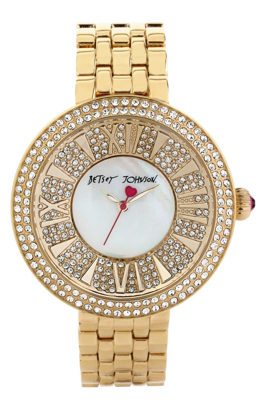 Main Image - Betsey Johnson Pavé Dial Bracelet Watch, 43mm
