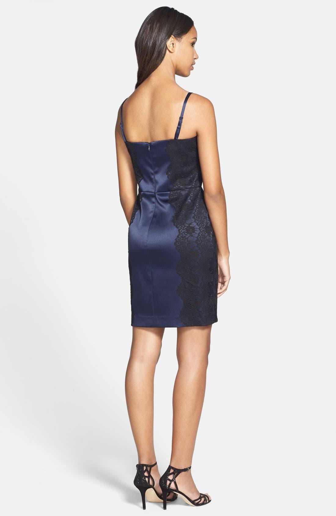 Alternate Image 2  - Jessica Simpson Structured Lace & Satin Body-Con Dress