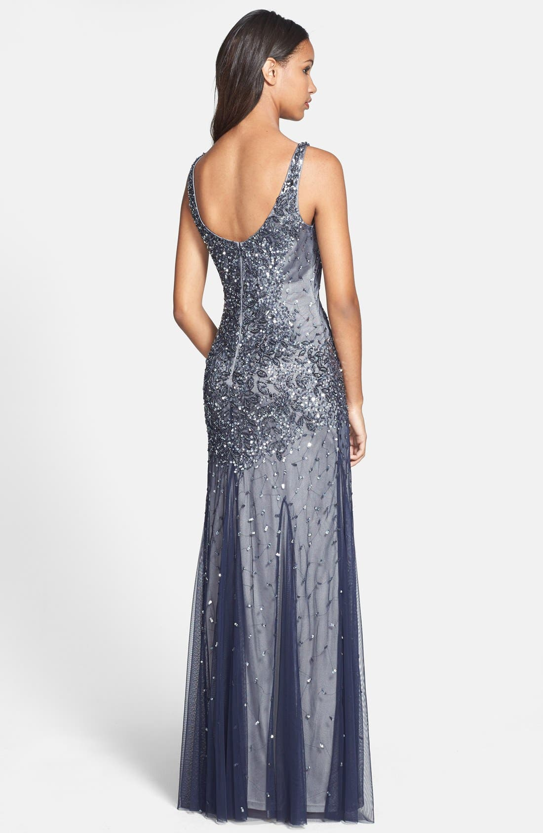 Alternate Image 2  - Adrianna Papell Beaded Mesh Tank Gown