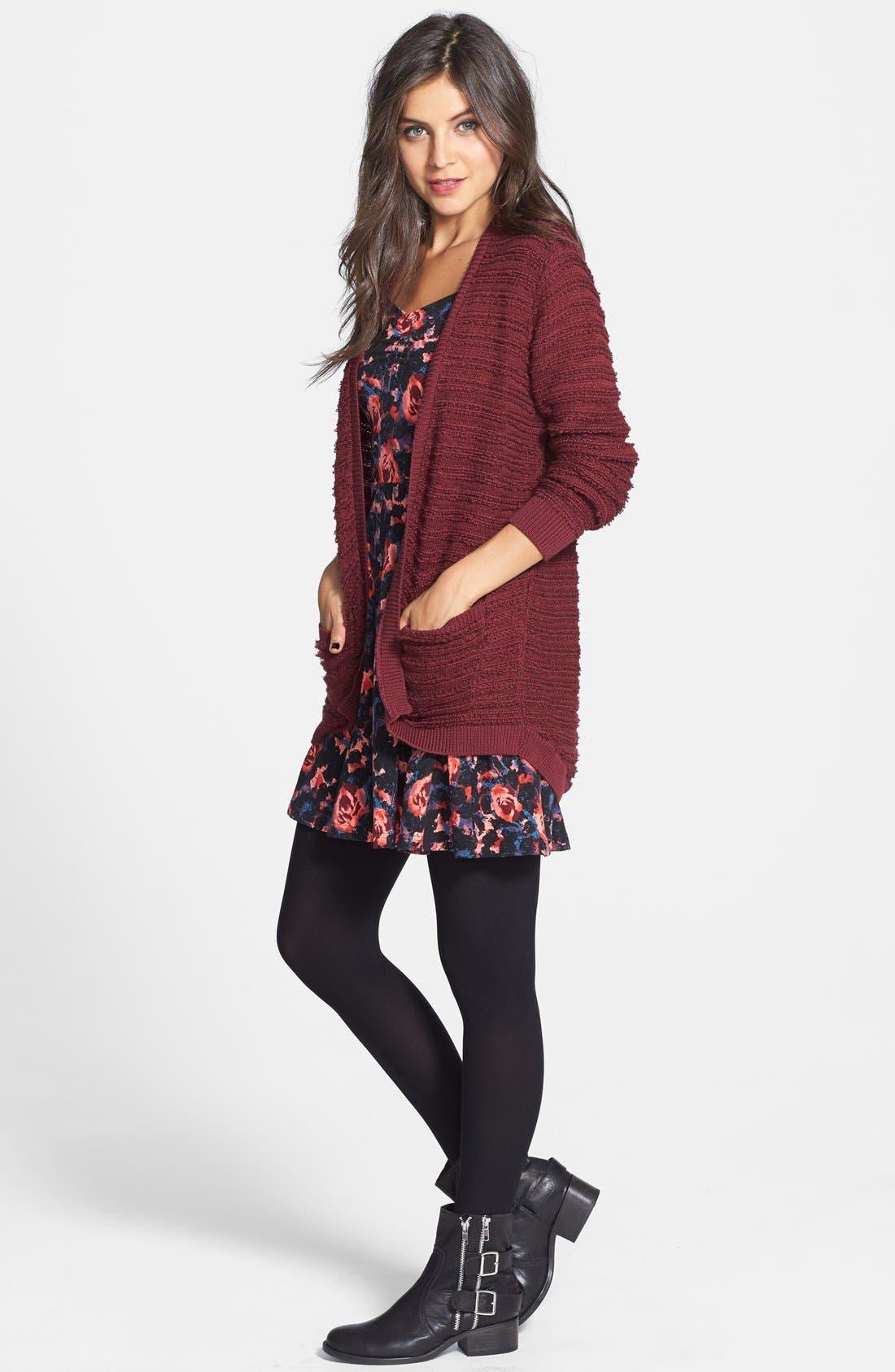 Alternate Image 4  - Frenchi® Floral Print Off-Shoulder Fit & Flare Dress (Juniors)