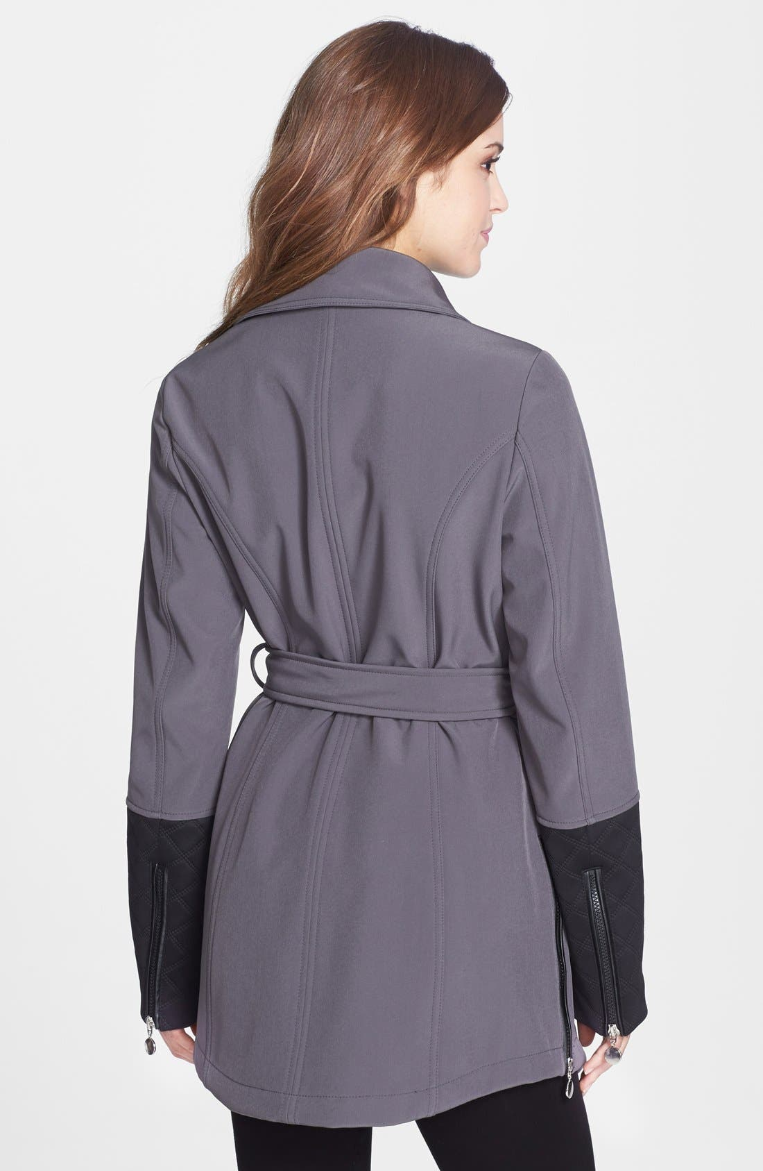 Alternate Image 2  - Betsey Johnson Faux Leather Trim Soft Shell Jacket with Removable Hood (Online Only)