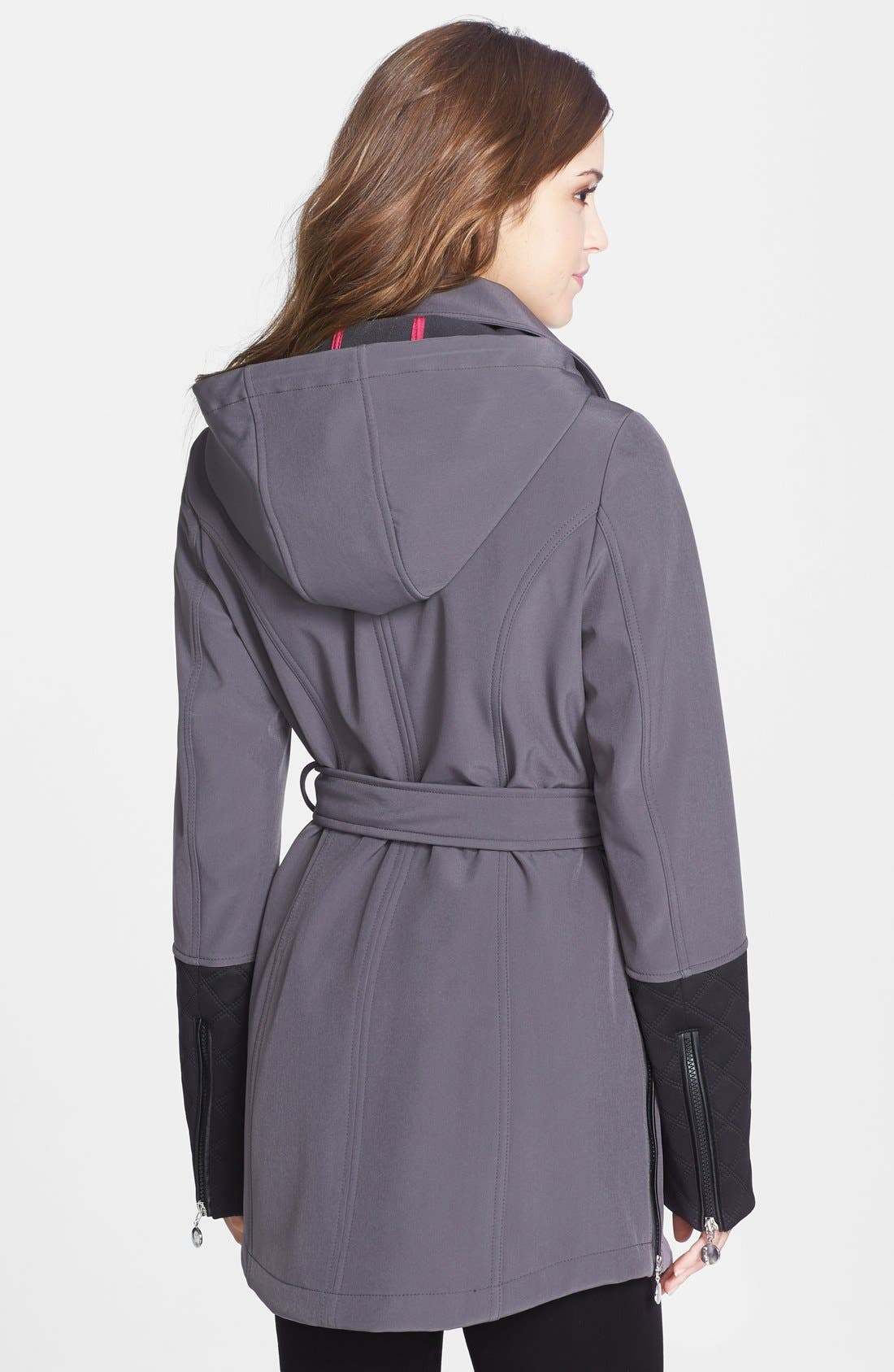 Alternate Image 4  - Betsey Johnson Faux Leather Trim Soft Shell Jacket with Removable Hood (Online Only)