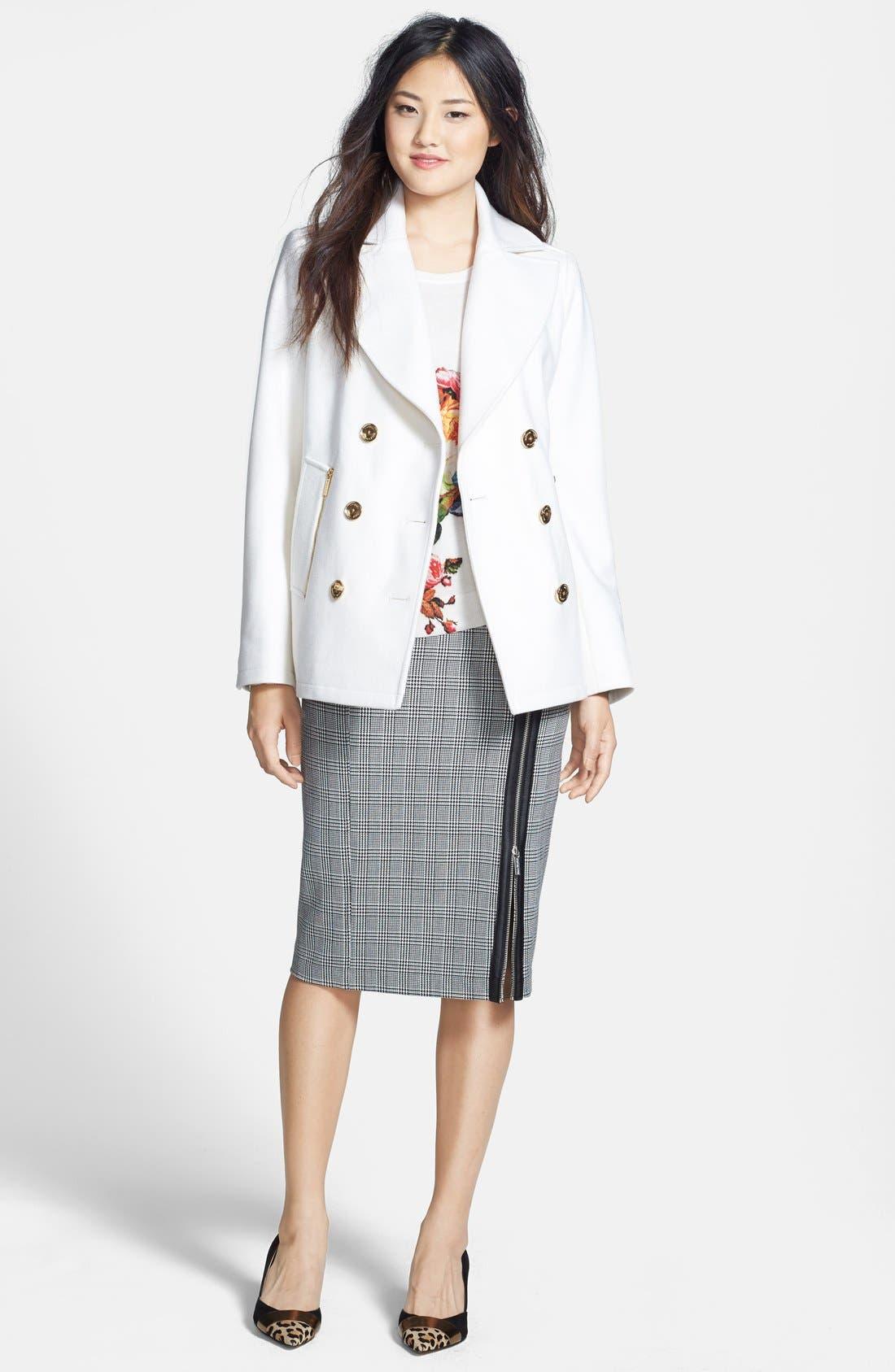 Alternate Image 4  - MICHAEL Michael Kors Zip Pocket Wool Blend Peacoat (Regular & Petite) (Online Only)