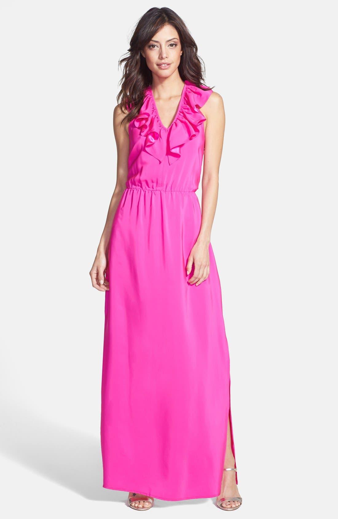 Main Image - Amanda Uprichard Ruffle Halter Maxi Dress