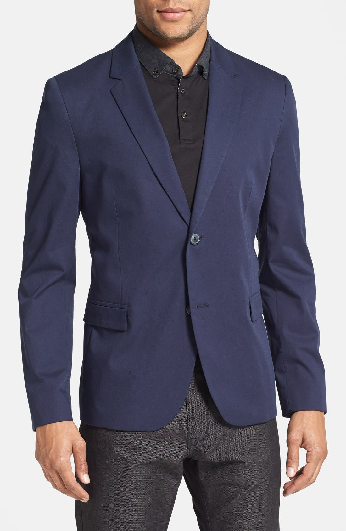 Main Image - HUGO 'Ambrus' Trim Fit Navy Stretch Cotton Sport Coat (Online Only)