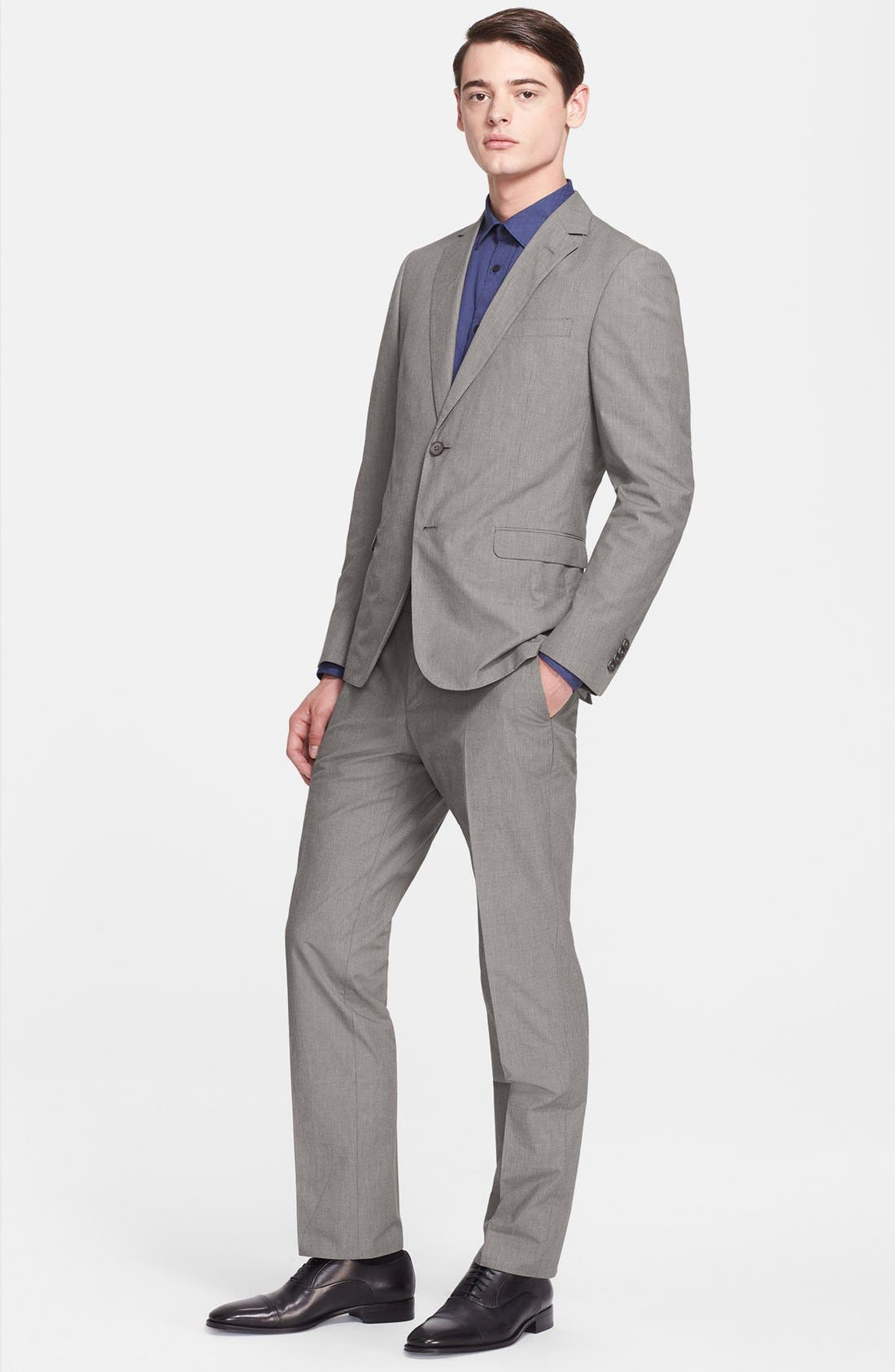 Alternate Image 1 Selected - Z Zegna Extra Trim Fit Grey Cotton Suit