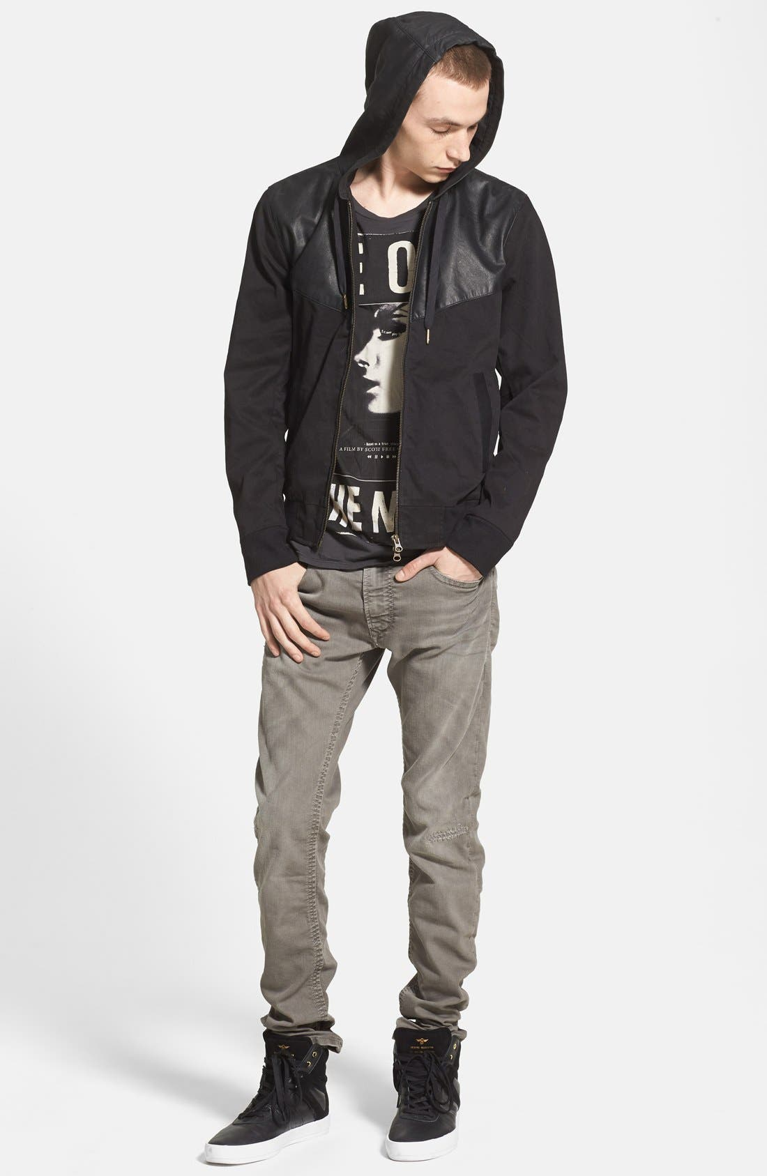 Alternate Image 4  - ZANEROBE Zip Hoodie with Leather Trim (Online Only)