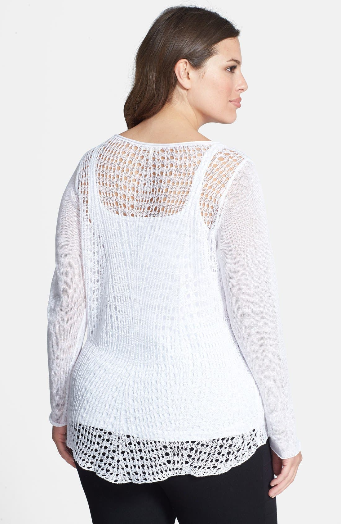 Alternate Image 2  - Eileen Fisher Organic Linen Scoop Neck Top (Plus Size)
