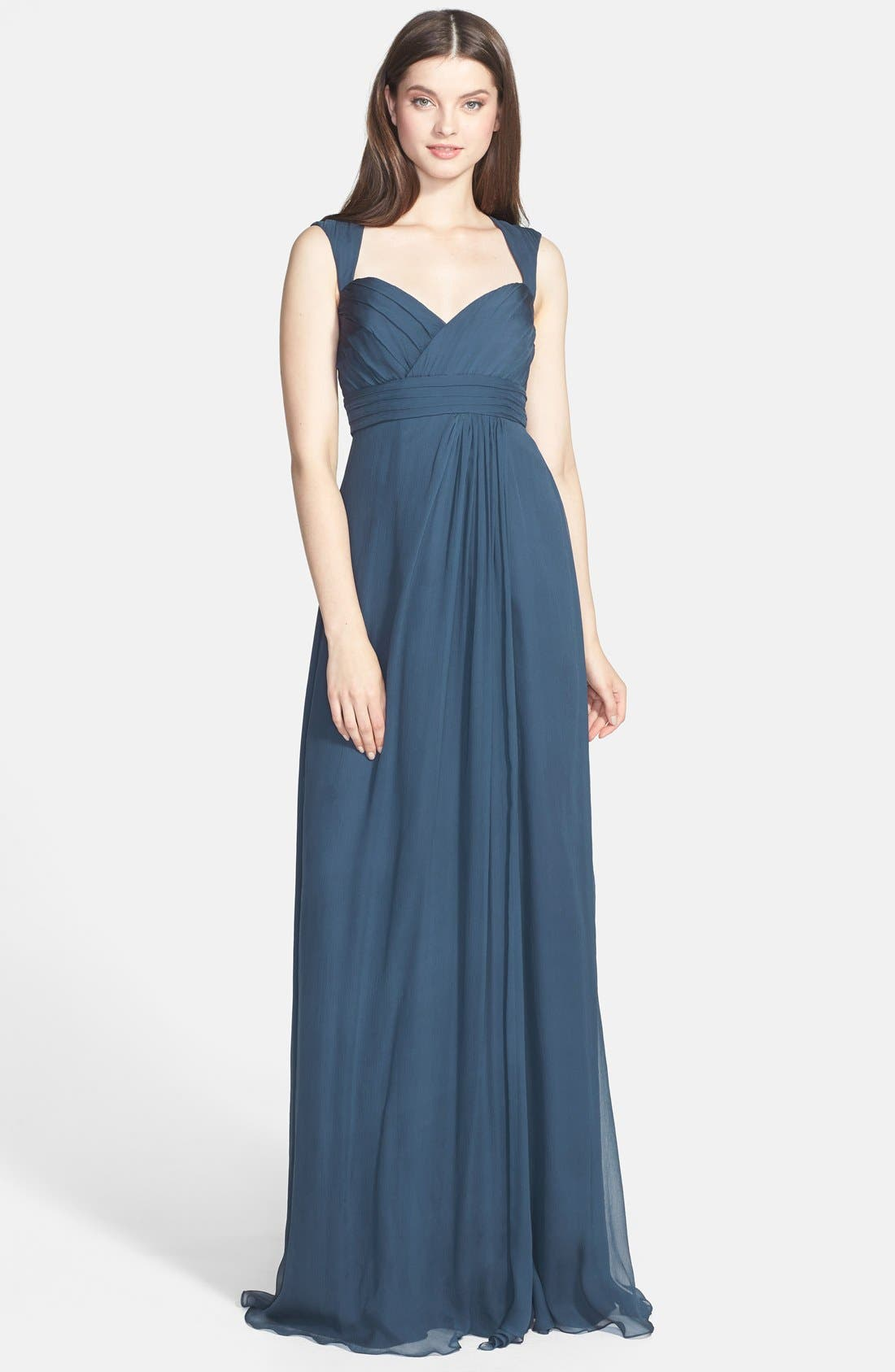 Alternate Image 1 Selected - Amsale Crinkled Silk Chiffon Gown