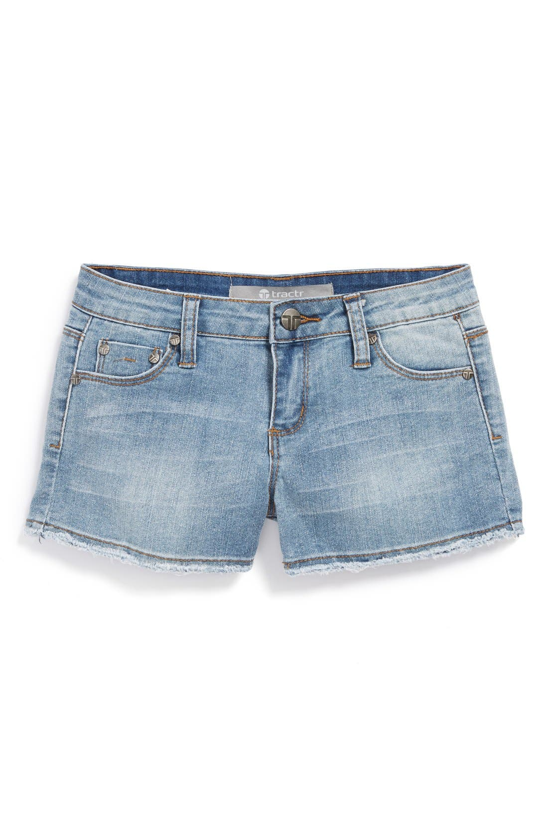 Alternate Image 2  - Tractr Frayed Denim Shorts (Big Girls)