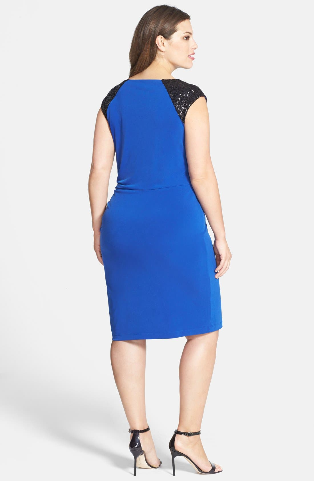 Alternate Image 2  - Calvin Sequin Beaded Shoulder Matte Jersey Sheath Dress (Plus Size)