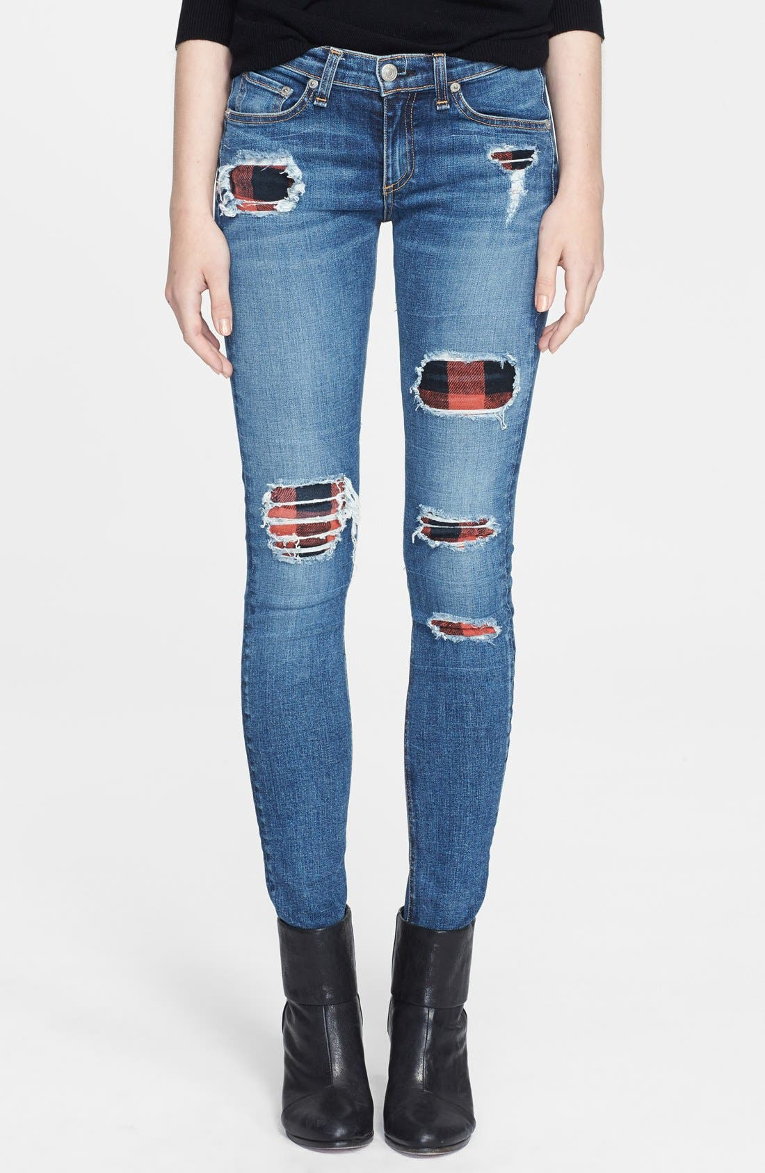 Main Image - rag & bone/JEAN Skinny Stretch Jeans (Sloane Plaid Repair)