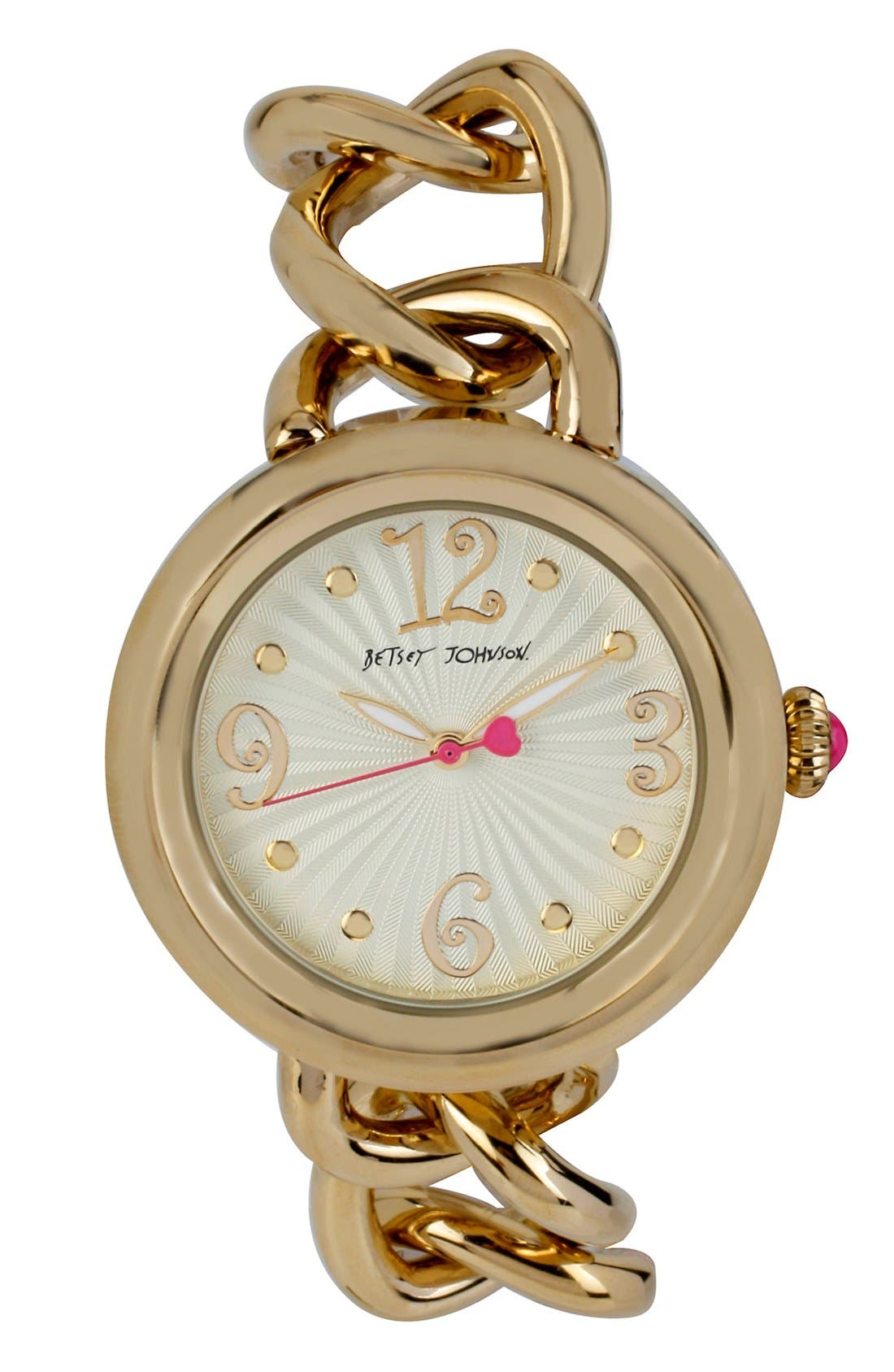 Main Image - Betsey Johnson Link & Leather Strap Watch, 38mm