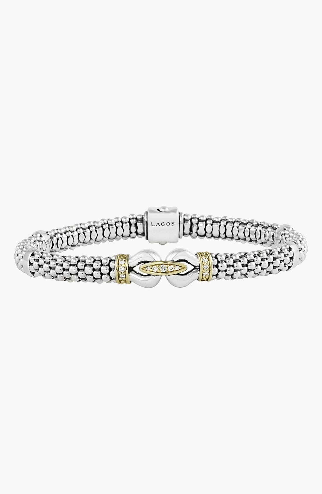Main Image - LAGOS 'Derby' Diamond Buckle Two Tone Rope Bracelet