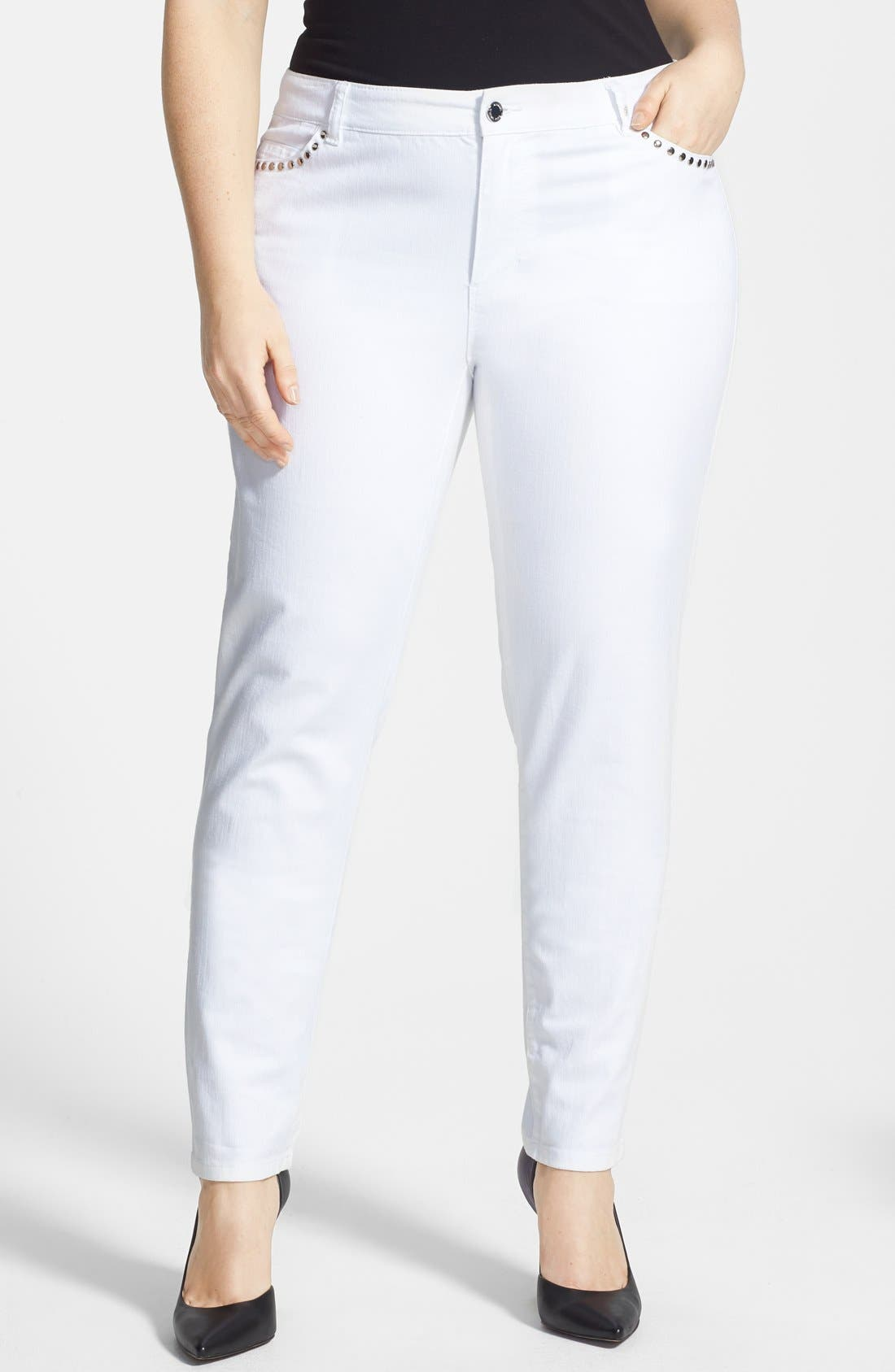 Alternate Image 1 Selected - MICHAEL Michael Kors Rivet Stud Skinny Jeans (White) (Plus Size)