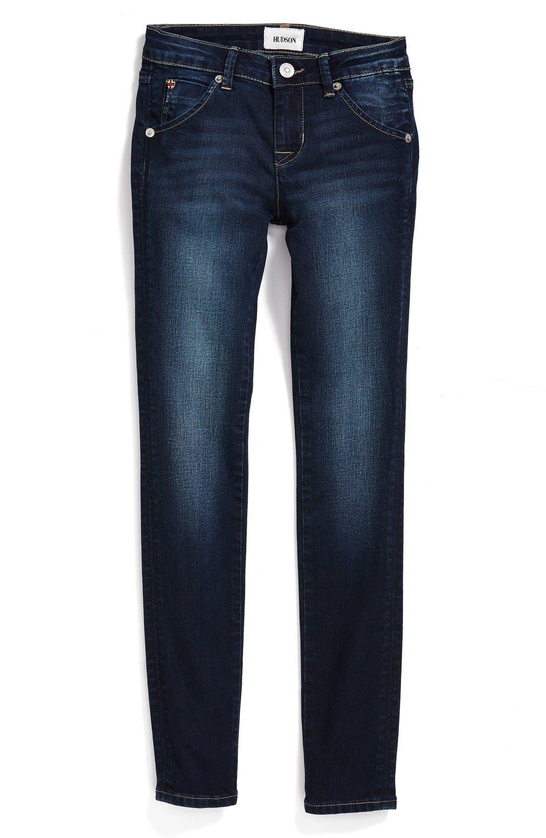 Alternate Image 1 Selected - Hudson Kids 'Collin' Flap Pocket Skinny Jeans (Big Girls)