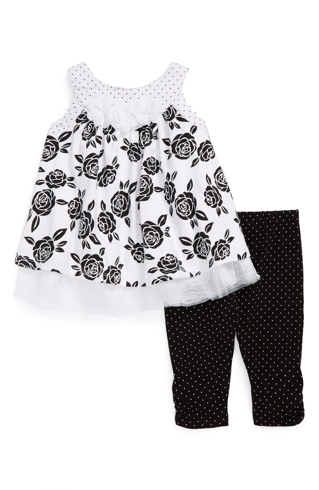 Alternate Image 1 Selected - Little Me 'Rose' Tunic & Leggings (Baby Girls)