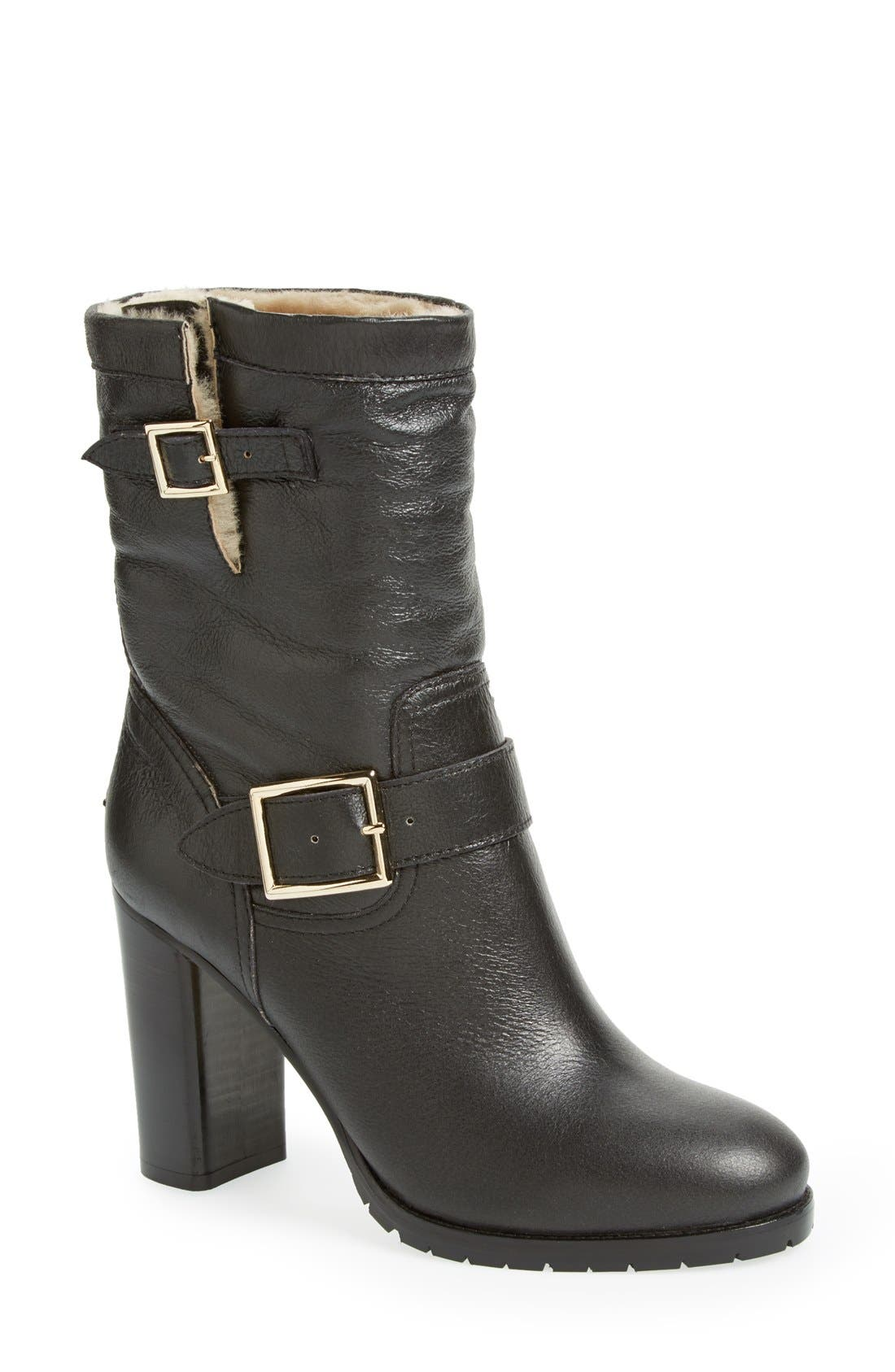 Main Image - Jimmy Choo 'Dart' Leather & Genuine Shearling Mid Calf Moto Boot (Women)