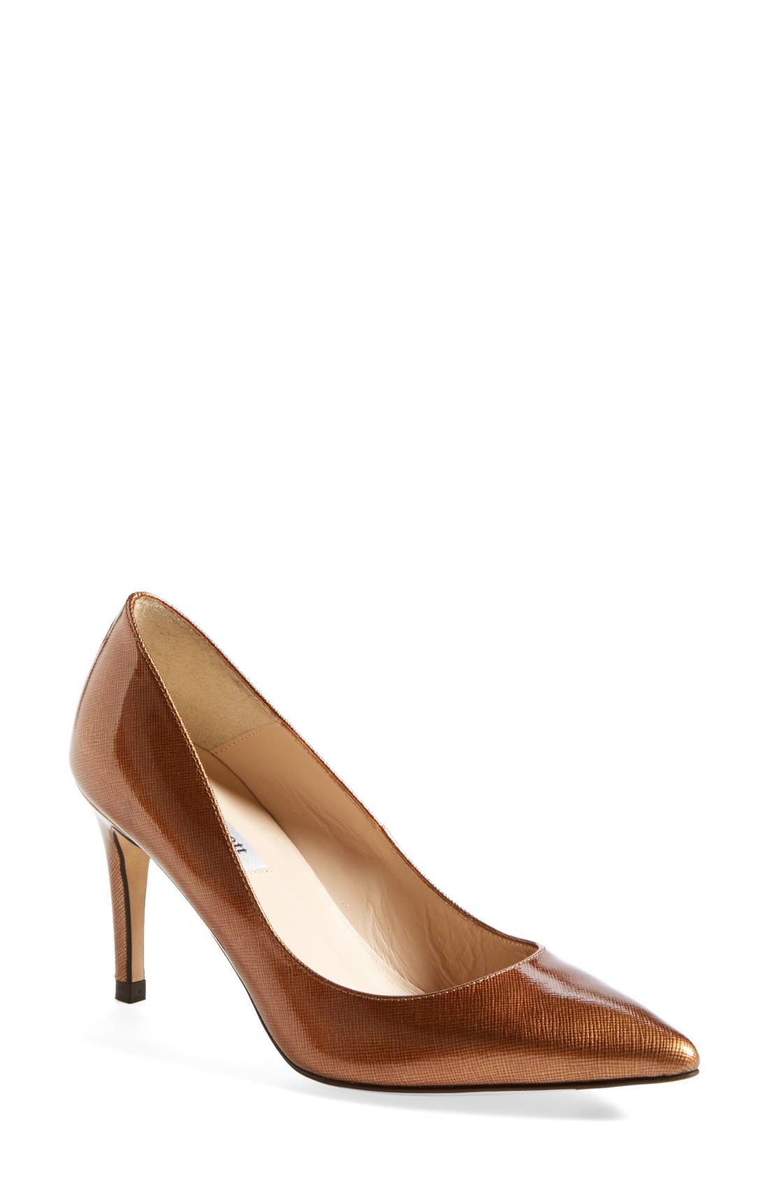 Alternate Image 1 Selected - L.K. Bennett 'Floret' Metallic Saffiano Leather Pointy Toe Pump (Women)