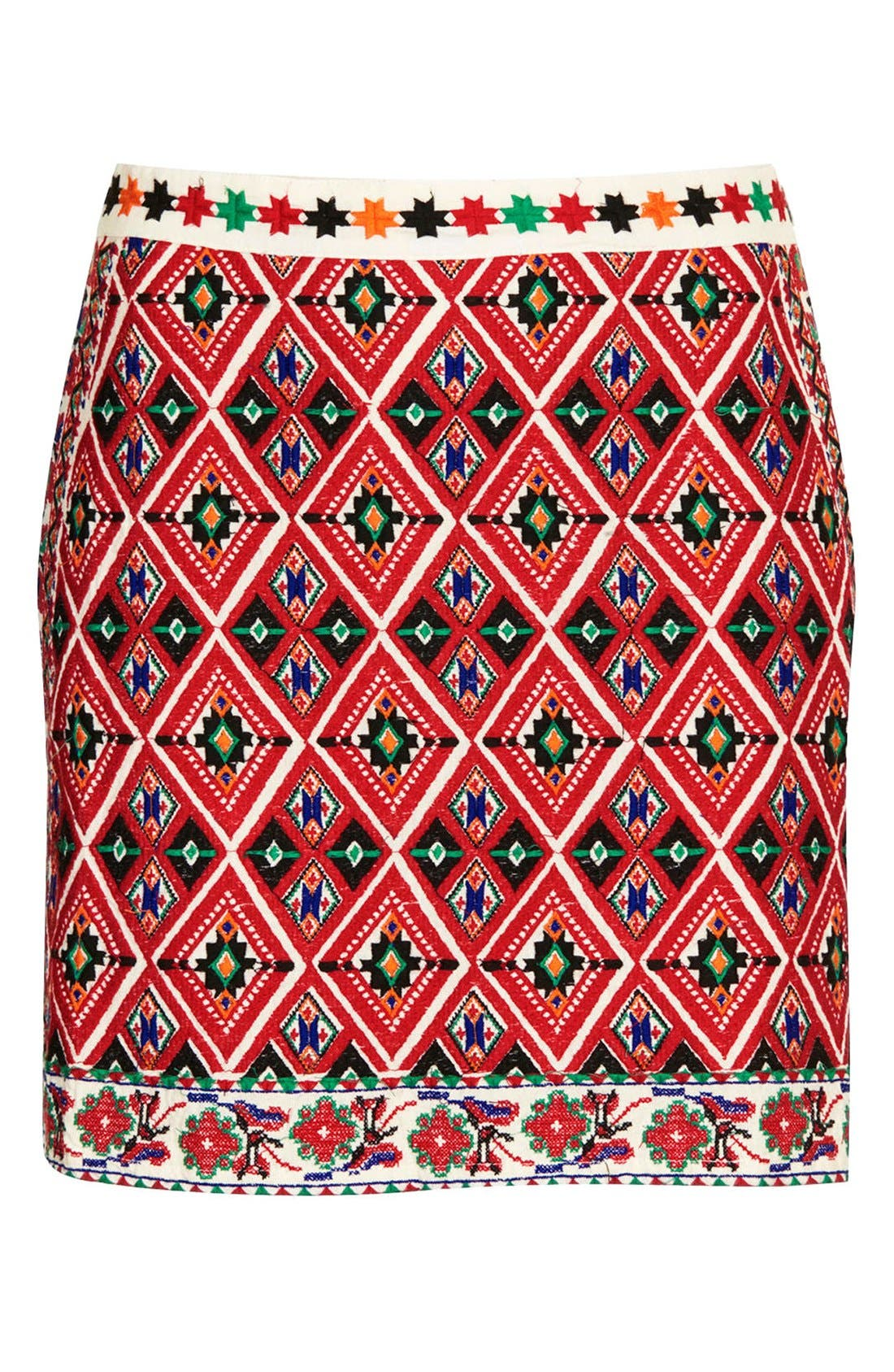Alternate Image 3  - Topshop Embroidered A-Line Skirt