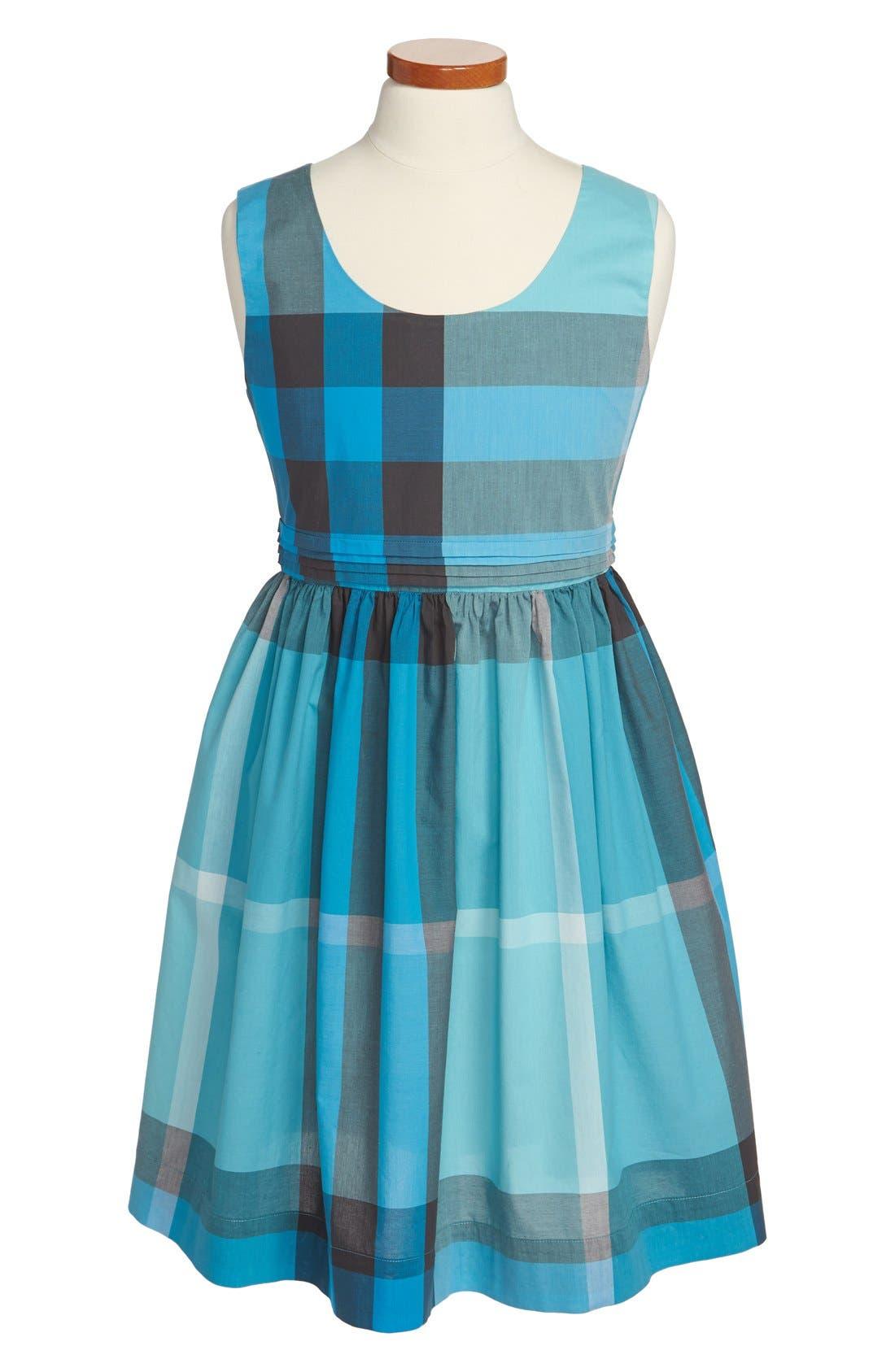 Main Image - Burberry Check Print Cutout Back Cotton Dress (Little Girls & Big Girls)