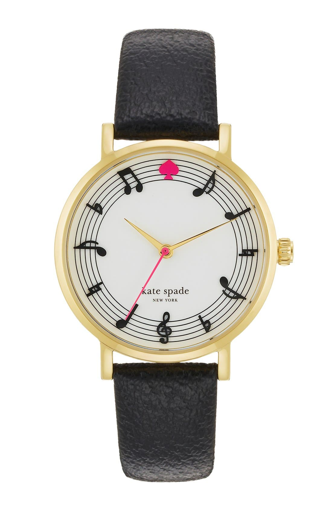 Alternate Image 1 Selected - kate spade new york 'metro - music note' leather strap watch, 34mm