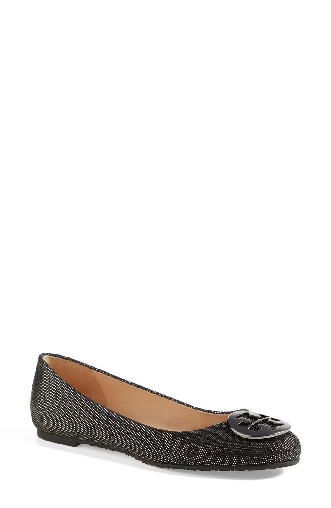 Alternate Image 1 Selected - Tory Burch 'Reva' Metallic Dot Suede Ballet Flat (Women)