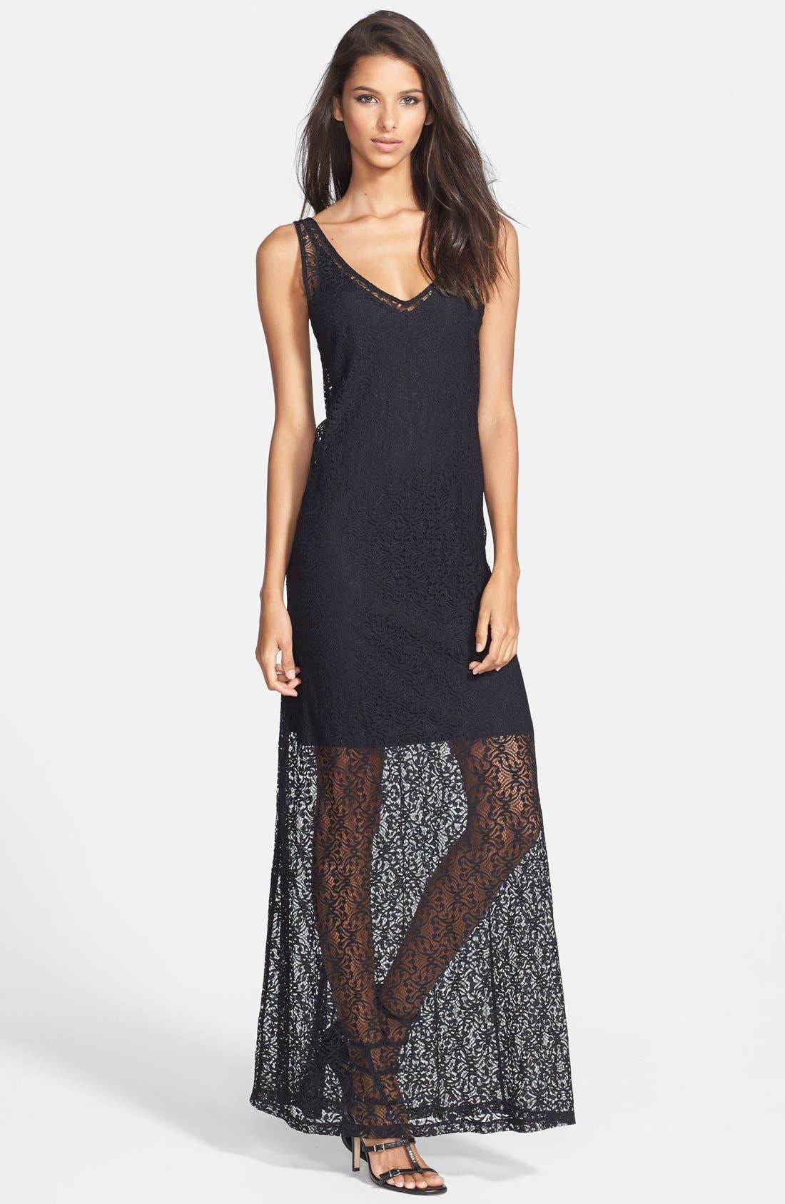 Alternate Image 1 Selected - Tildon Floral Print Lace Maxi Dress