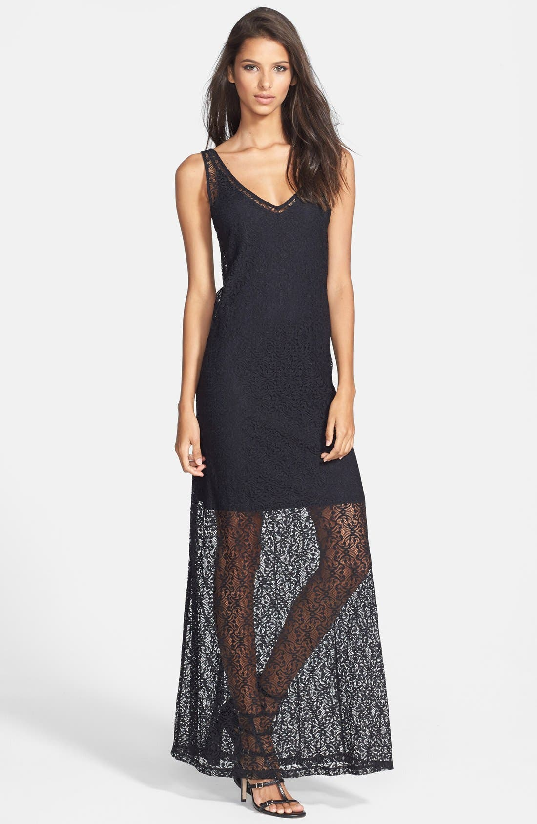 Main Image - Tildon Floral Print Lace Maxi Dress