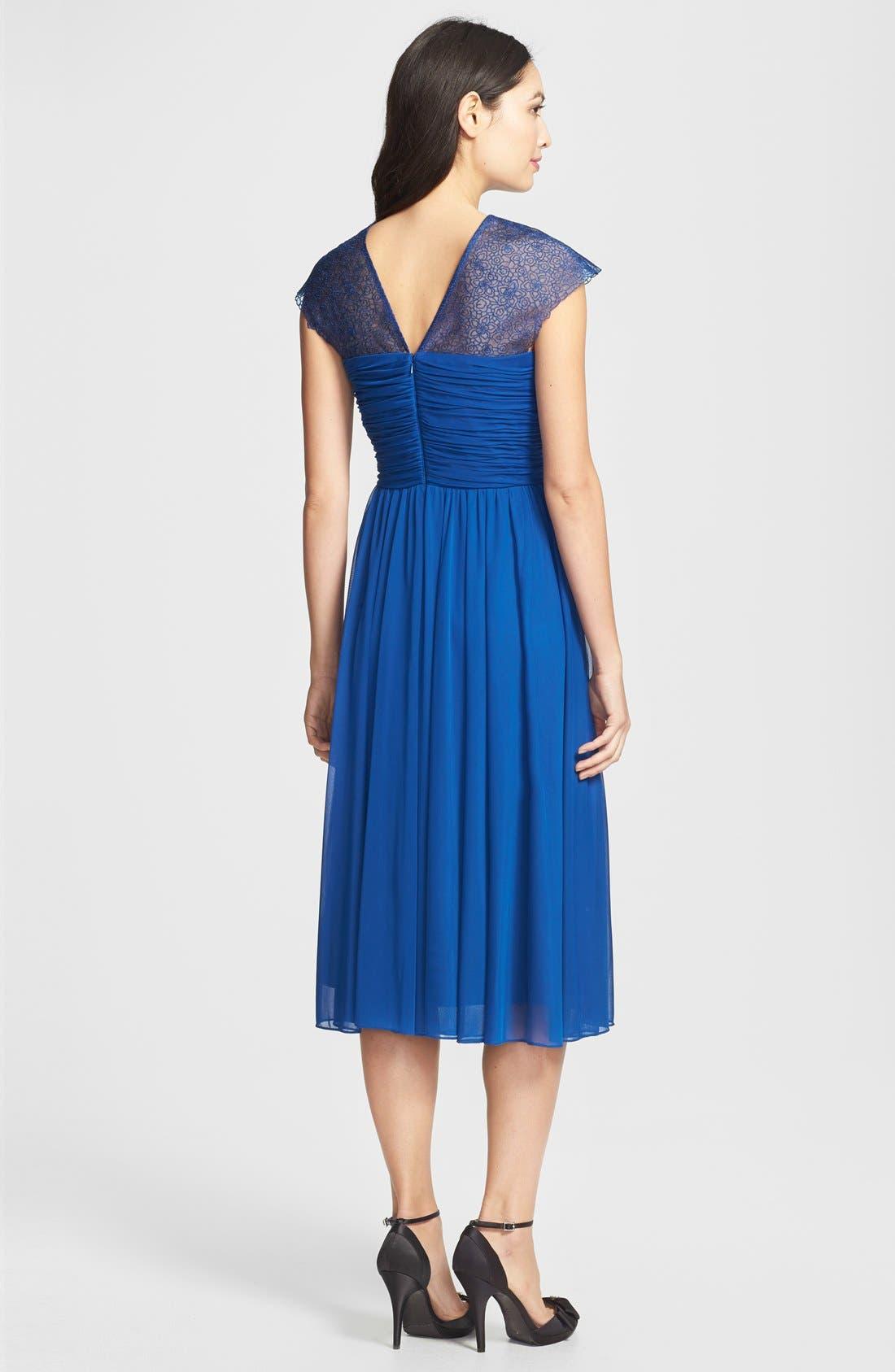 Alternate Image 2  - Alex Evenings Ruched Cap Sleeve Tea Length Dress