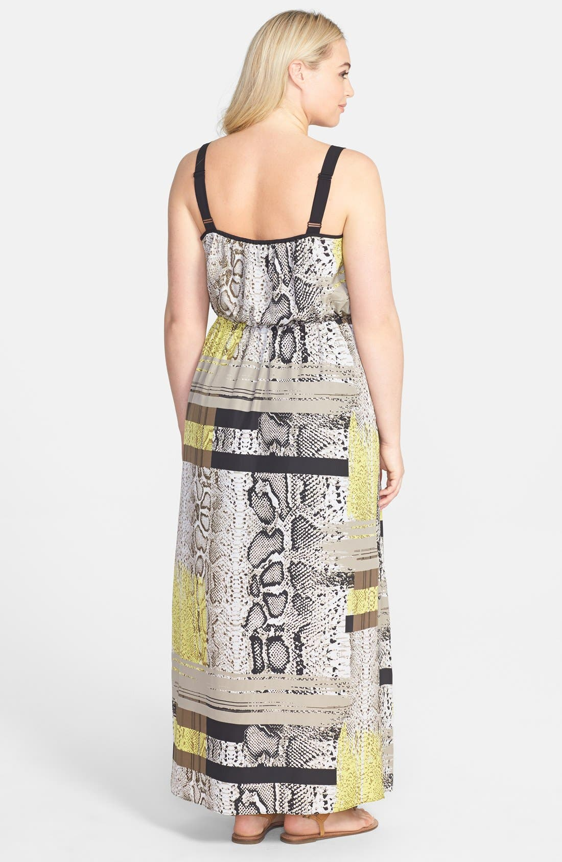 Alternate Image 2  - Vince Camuto Neo Snakeskin Print Maxi Dress (Plus Size)