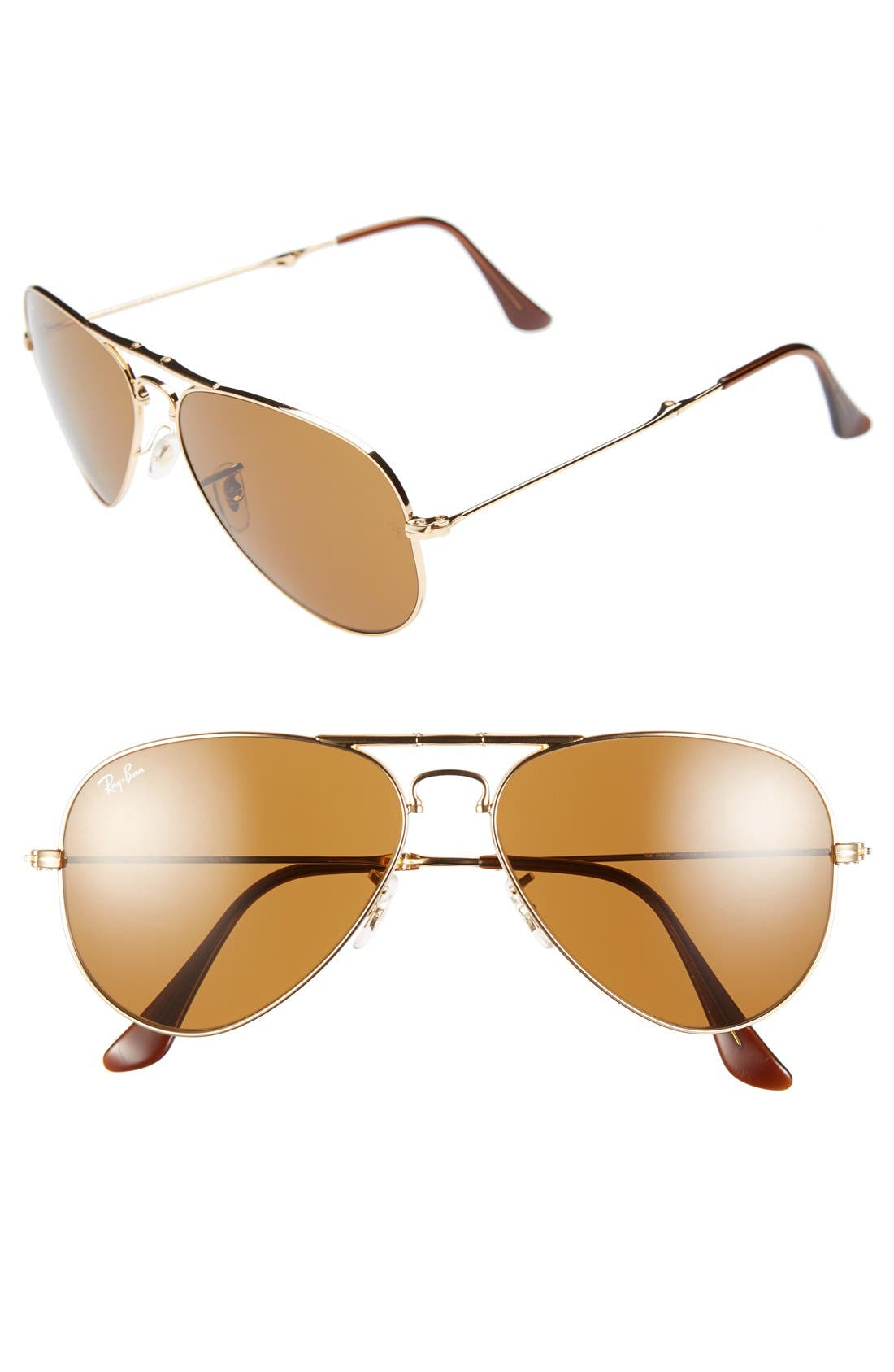 Alternate Image 1 Selected - Ray-Ban 58mm Folding Aviator Sunglasses