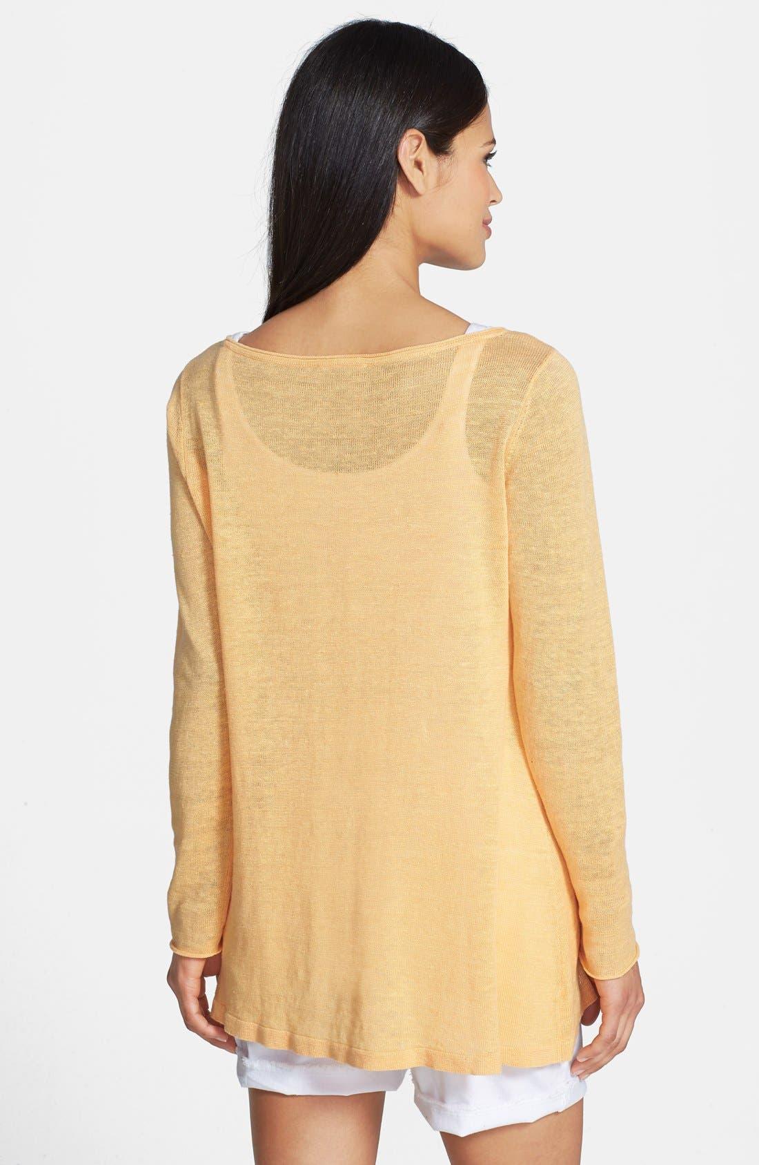 Alternate Image 2  - Eileen Fisher Ballet Neck Organic Linen Top (Regular & Petite)