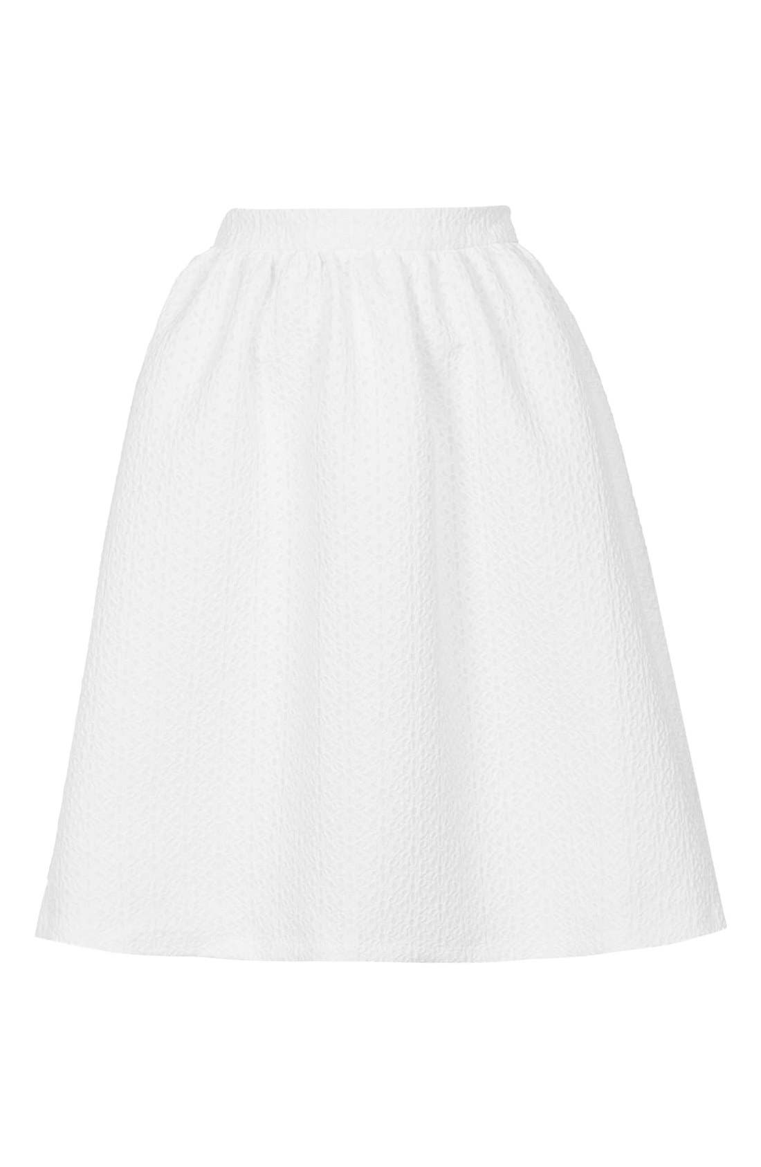 Alternate Image 3  - Topshop Daisy Jacquard Flare Skirt