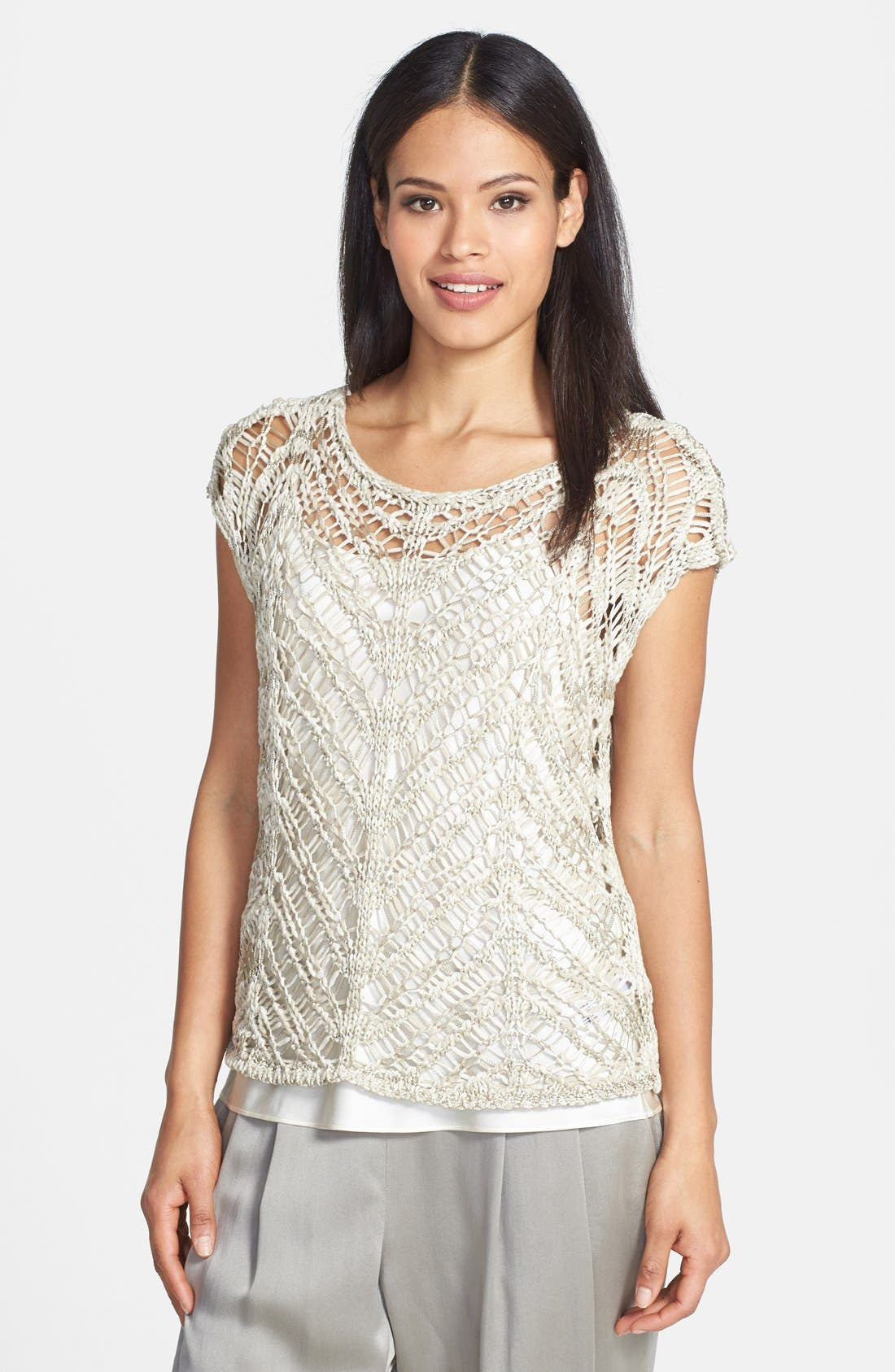 Alternate Image 1 Selected - Eileen Fisher Brushstroke Satin Ballet Neck Tape Yarn Top