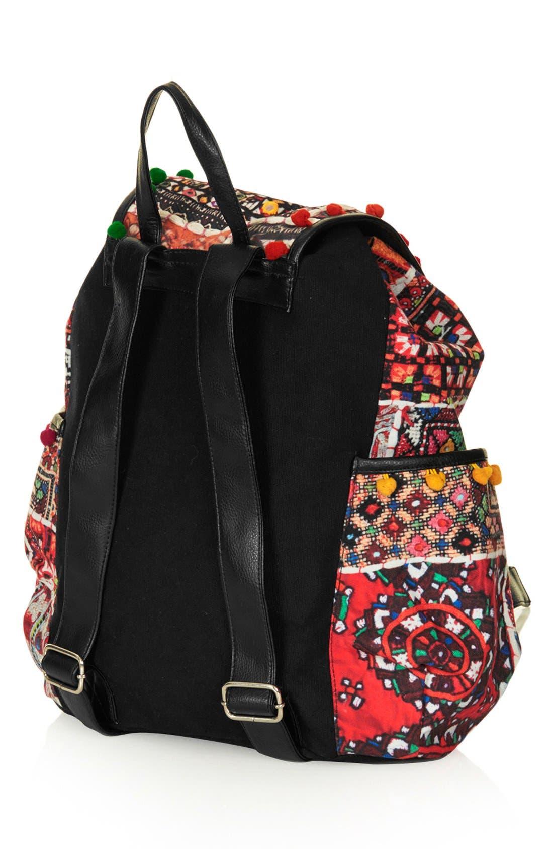 Alternate Image 4  - Topshop 'Cuzco' Pompom Trim Embroidered Backpack