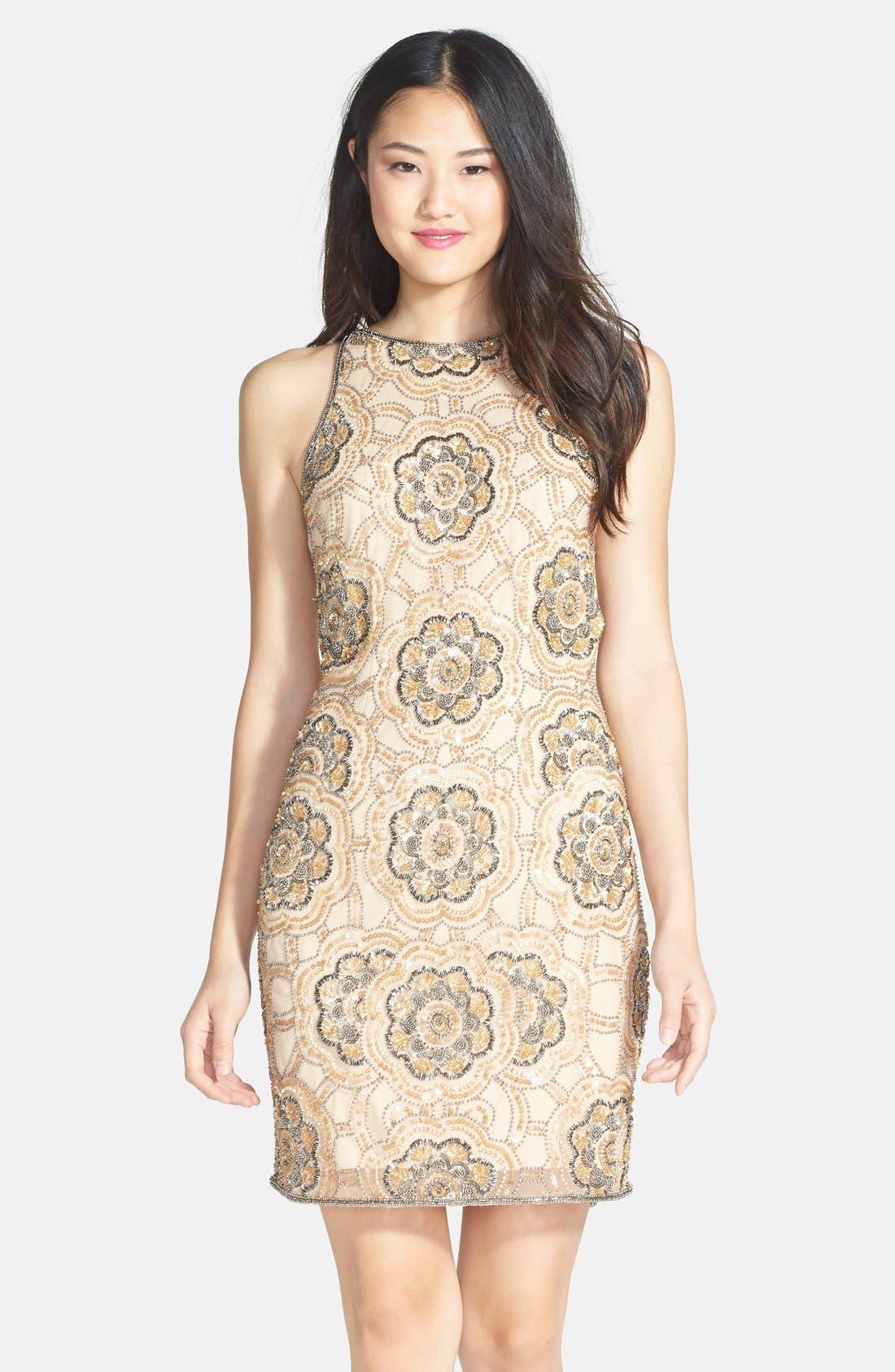 Alternate Image 1 Selected - Adrianna Papell Beaded Cutaway Sheath Dress