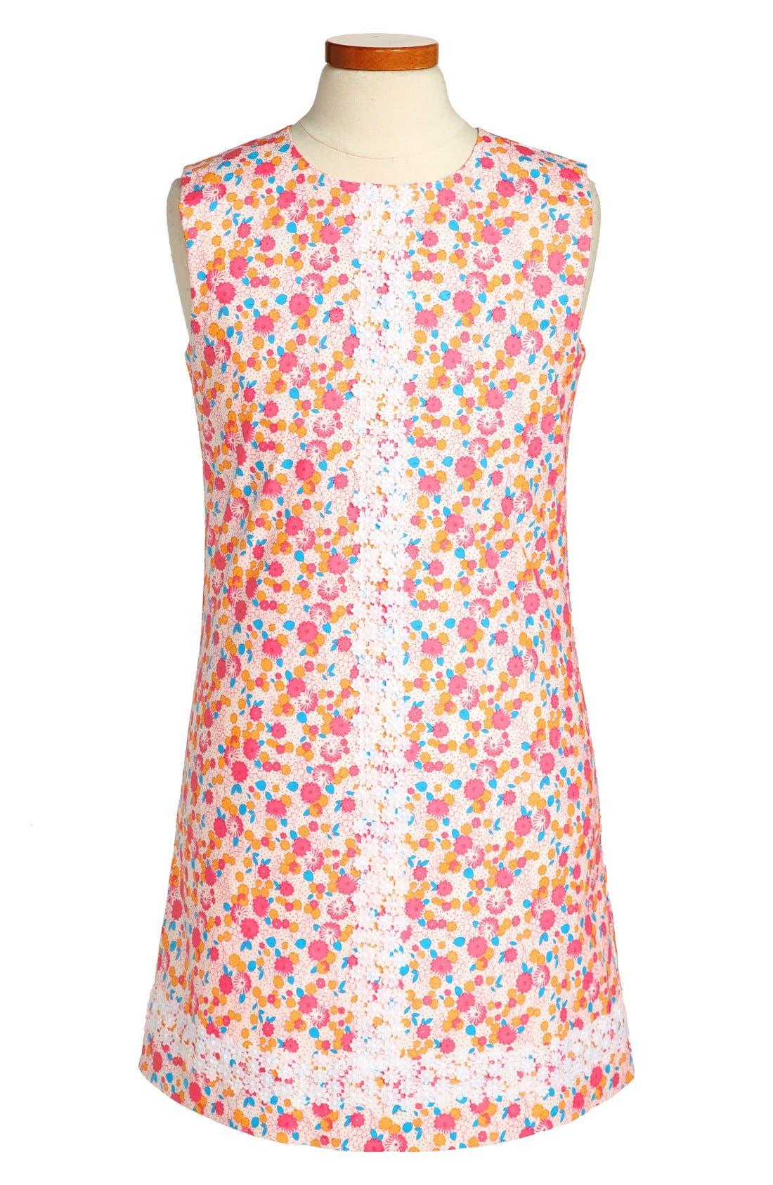 Alternate Image 1 Selected - Oscar de la Renta Floral Dress (Toddler Girls, Little Girls & Big Girls)