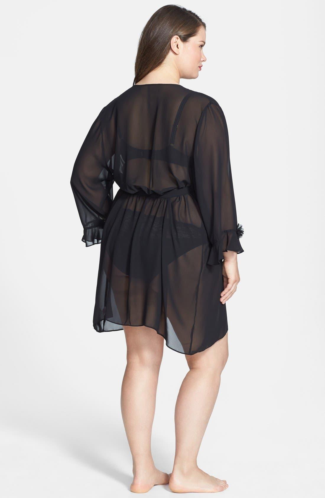 Alternate Image 2  - Oscar de la Renta 'Night & Day' Sheer Georgette Robe (Plus Size)