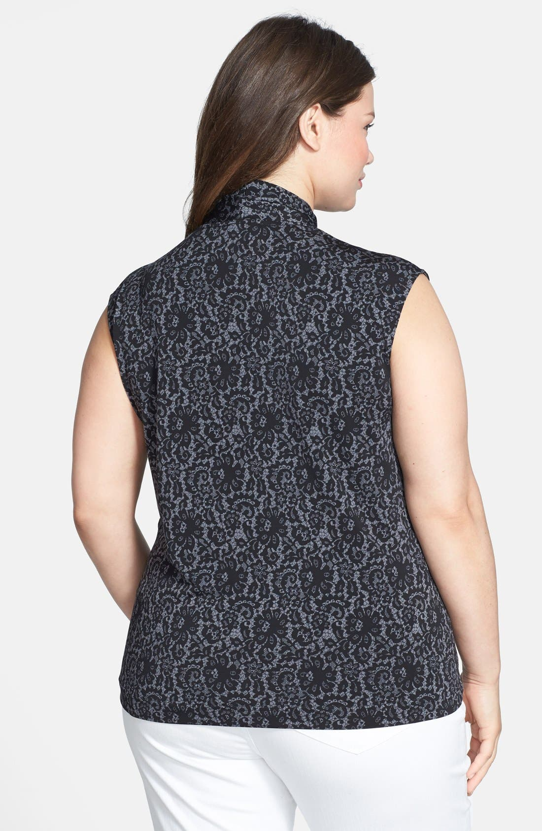 Alternate Image 2  - Vince Camuto 'Chantilly' Lace Print V-Neck Top (Plus Size)