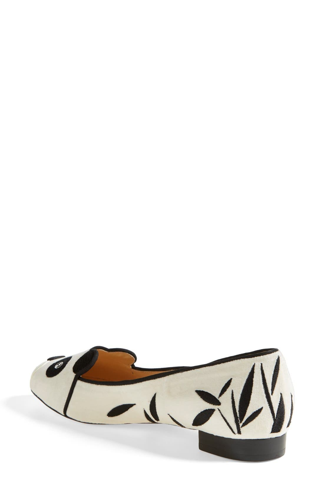 Alternate Image 2  - Charlotte Olympia 'Panda' Silk Velvet & Calfskin Leather Flat (Women)